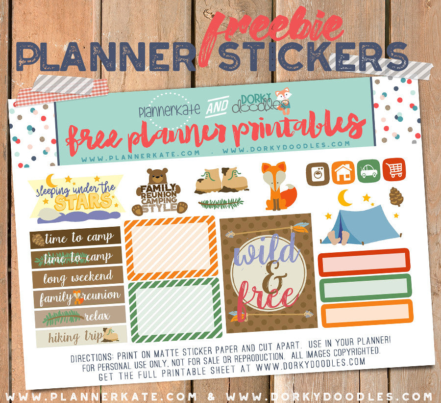 image relating to Freebie Planner known as Tenting Planner Stickers Freebie Dorky Doodles