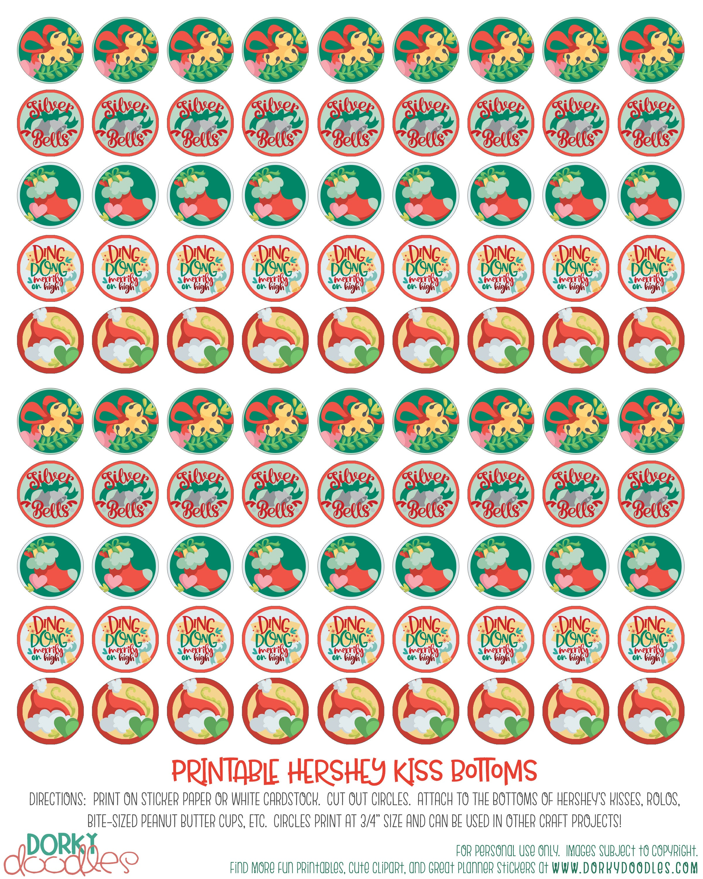 image relating to Printable Christmas Stickers known as Xmas Kisses Printable Stickers Dorky Doodles