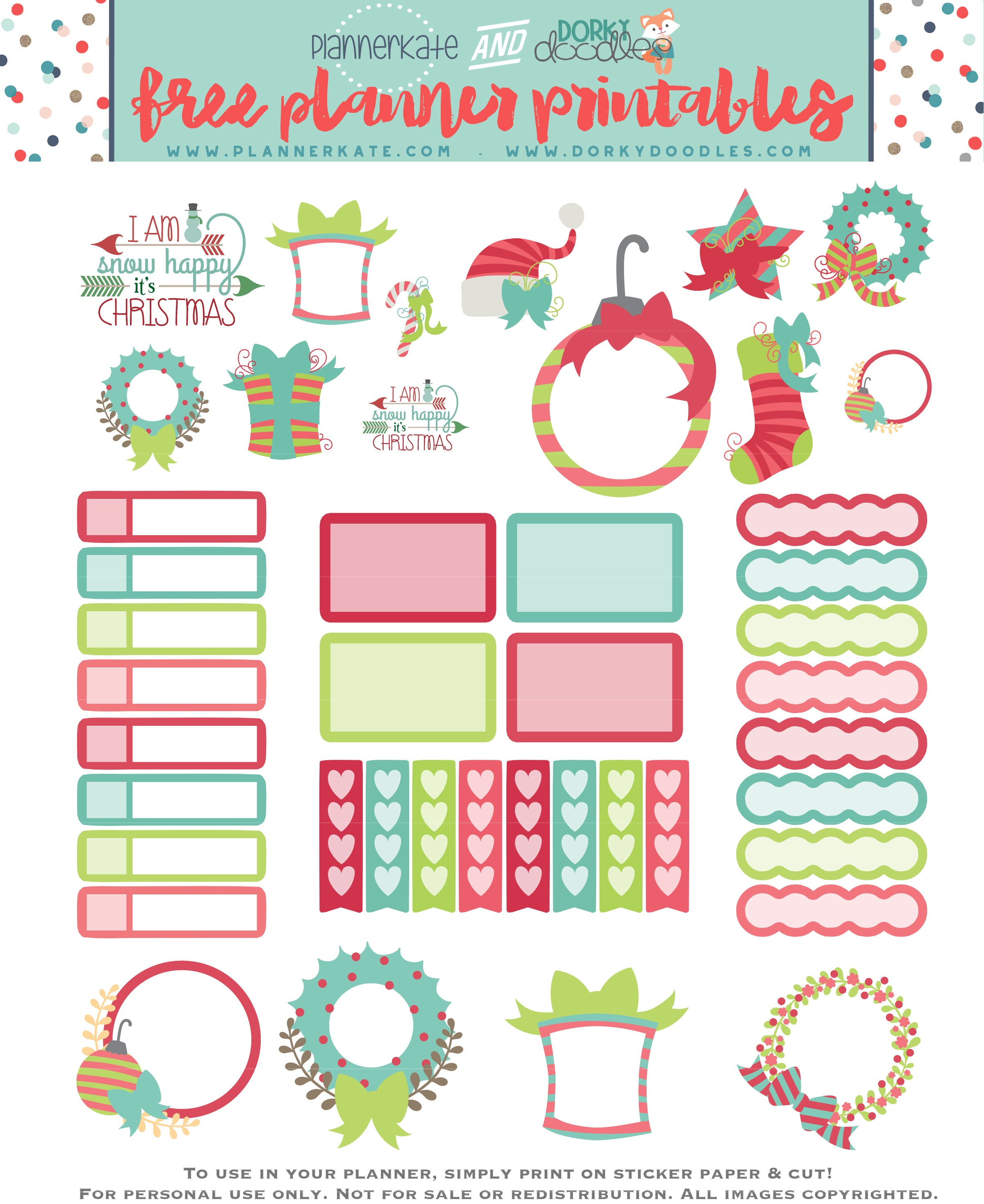 graphic regarding Free Printable Christmas Stickers named Absolutely free Printable Xmas Planner Stickers Dorky Doodles