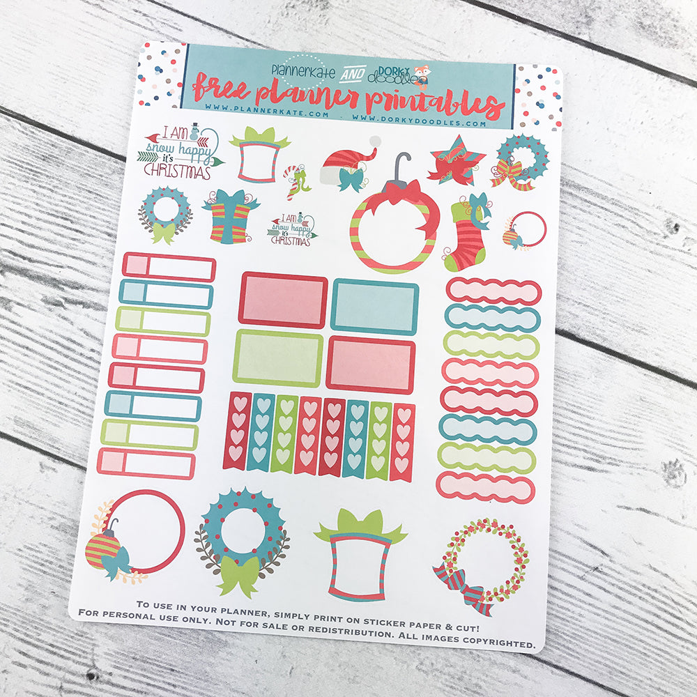 picture regarding Free Printable Christmas Planner named No cost Printable Xmas Planner Stickers Dorky Doodles