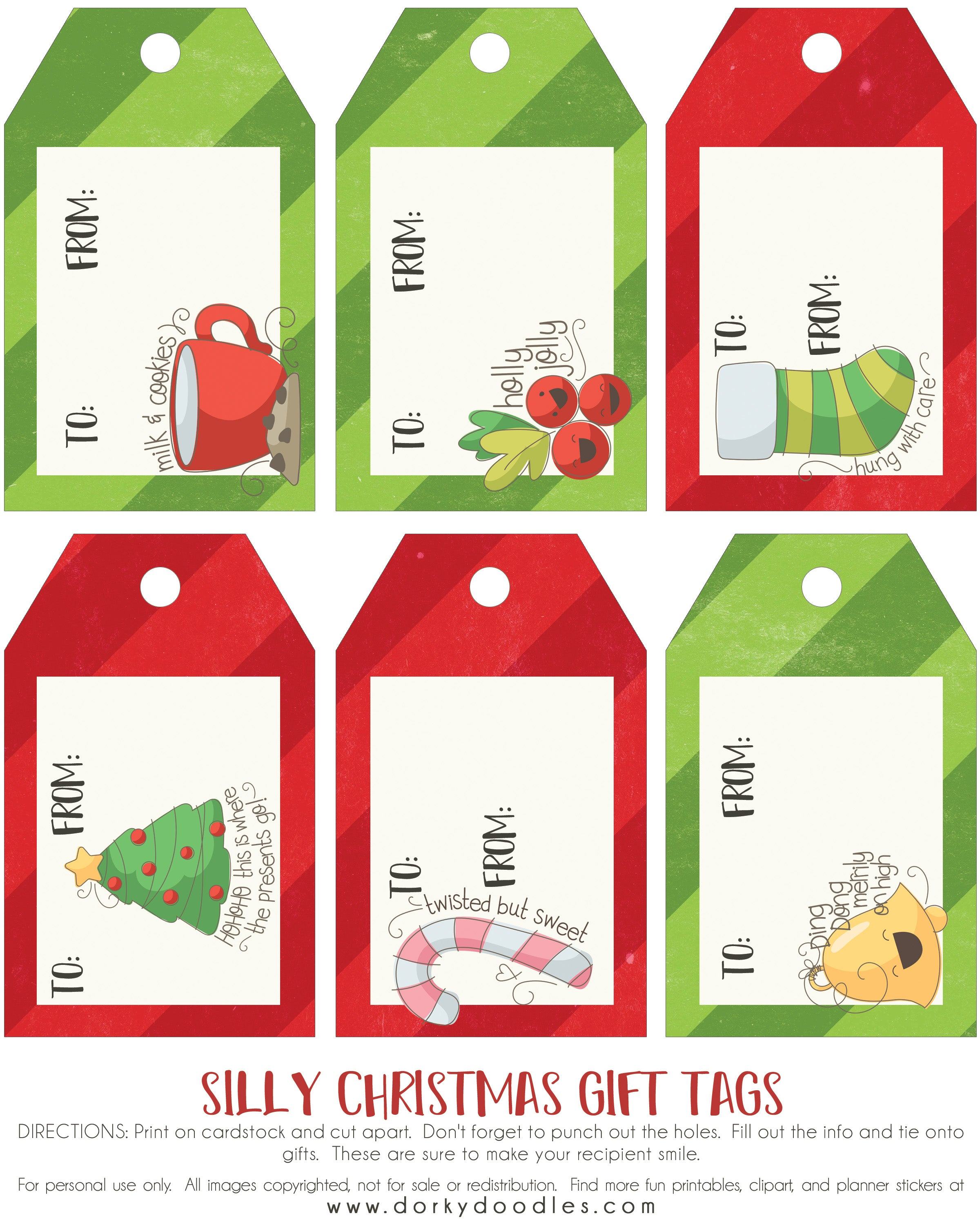 photograph about Printable Cardstock Tags called No cost Printable Xmas Tags Dorky Doodles