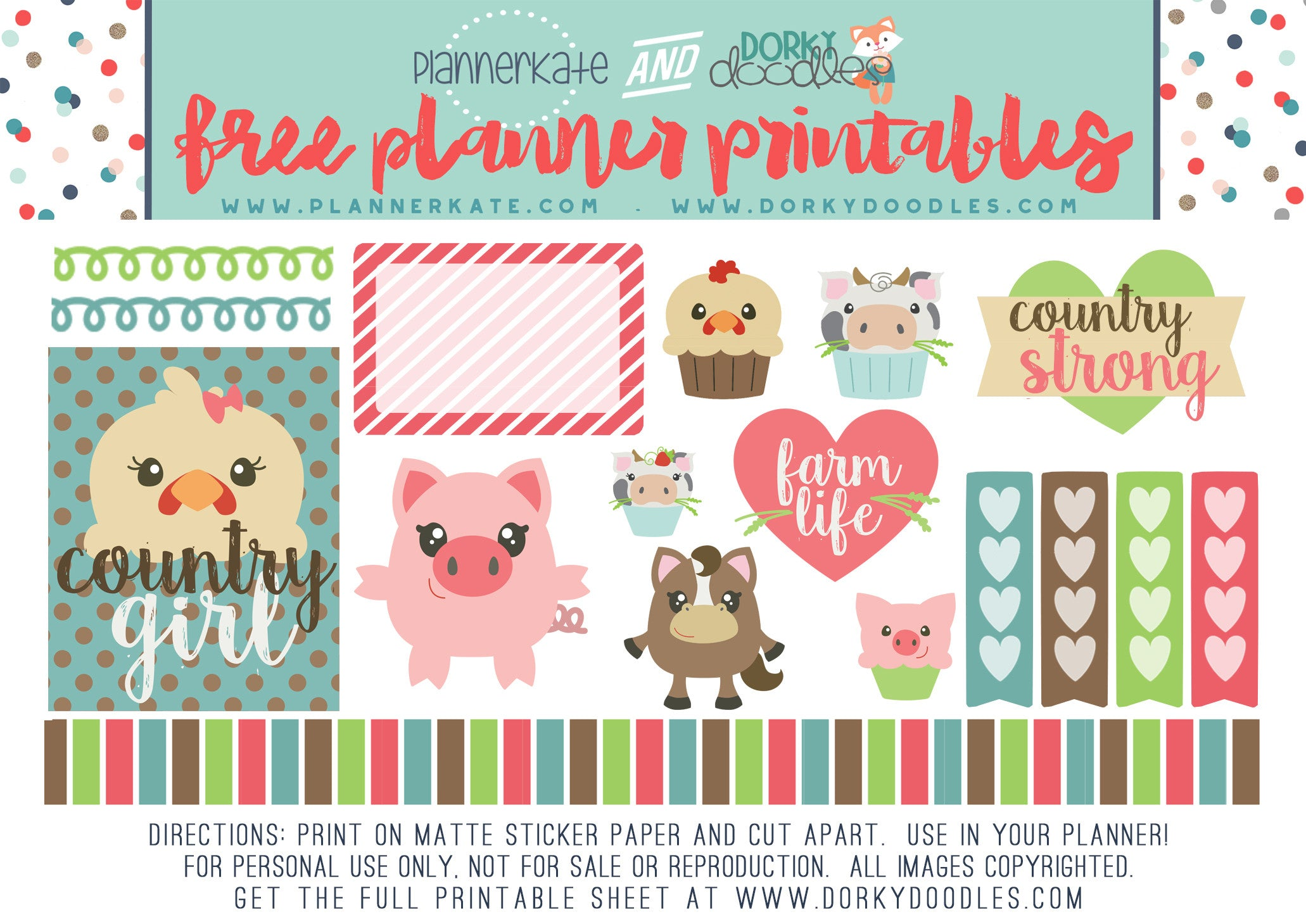 farm animal planner stickers