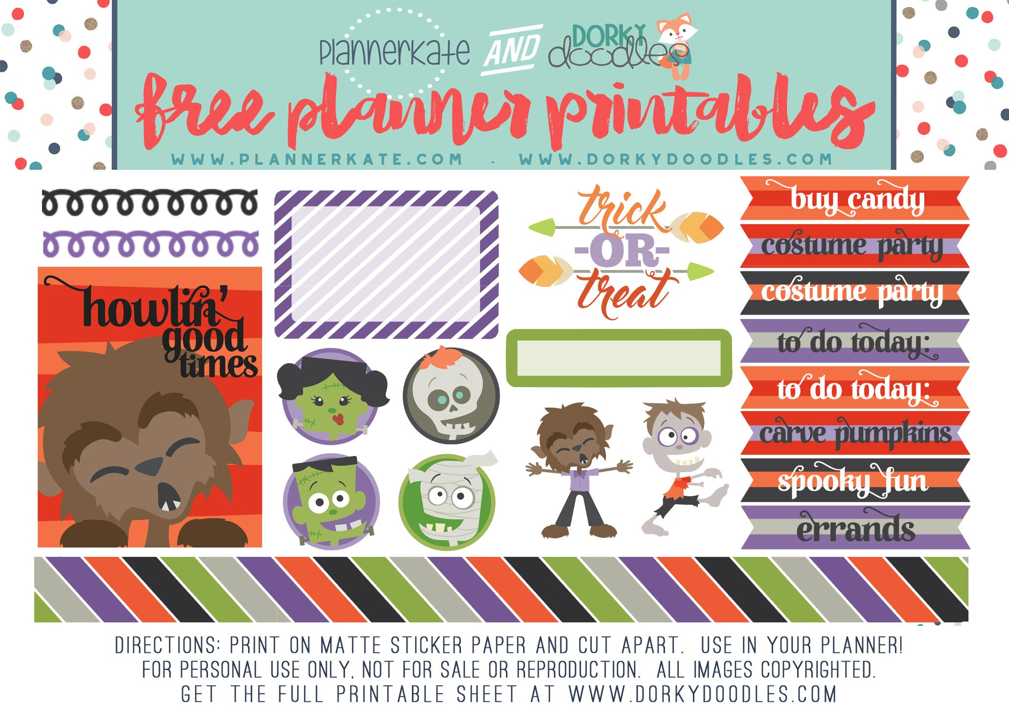 monster mash planner stickers