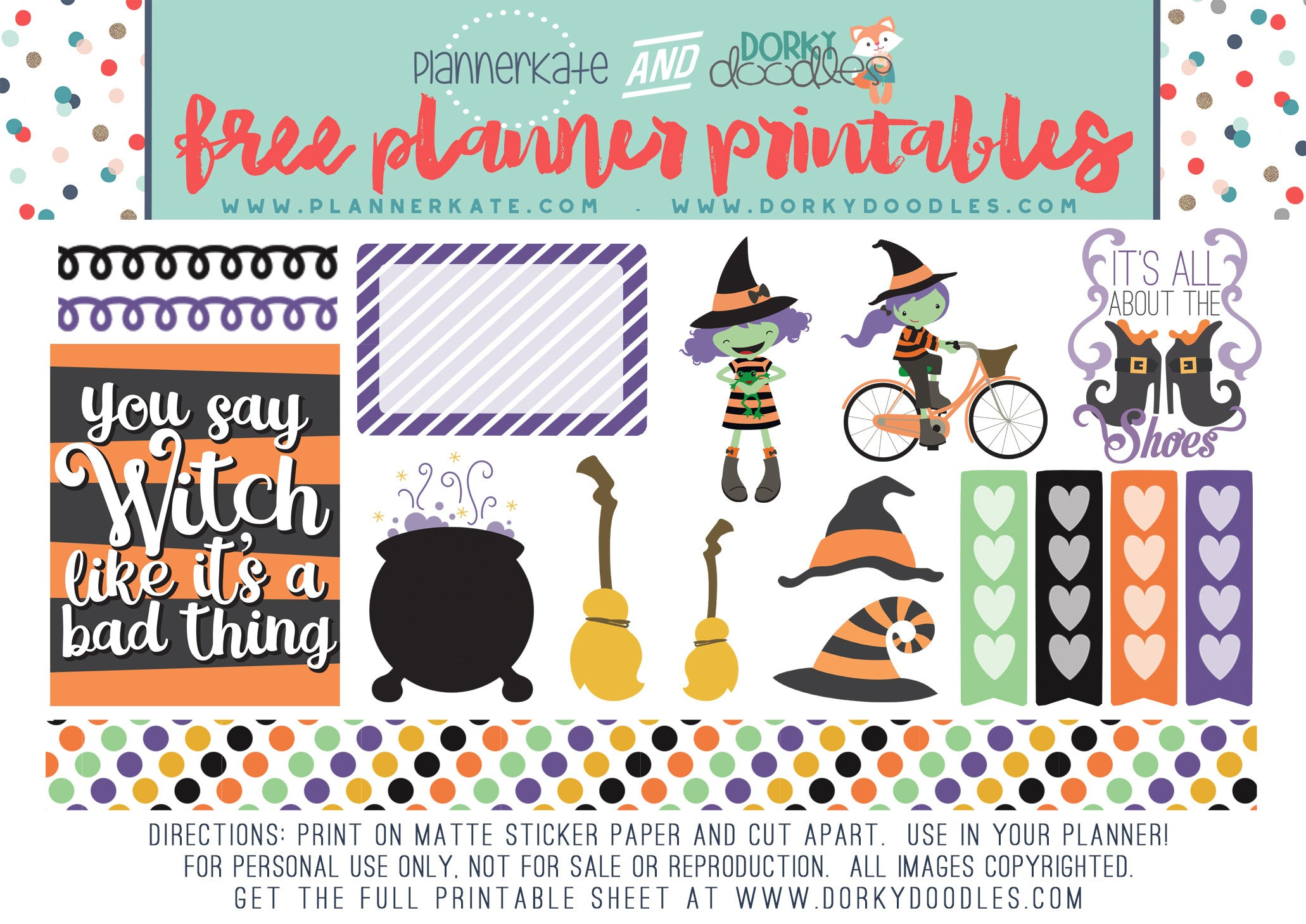 halloween witches planner stickers