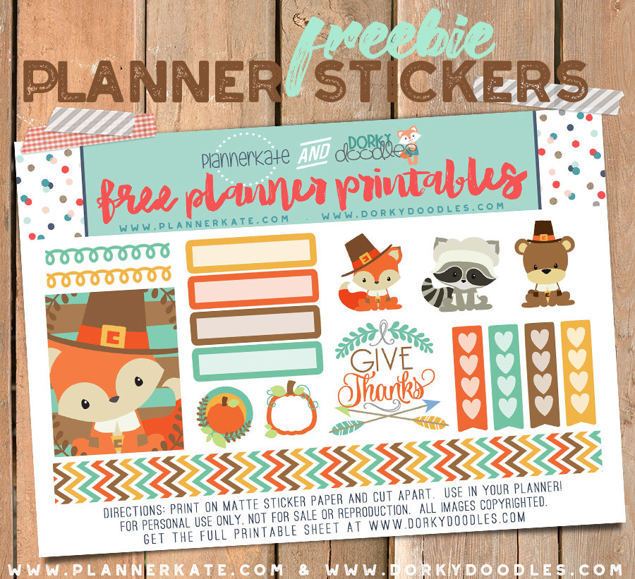 free thanksgiving planner stickers