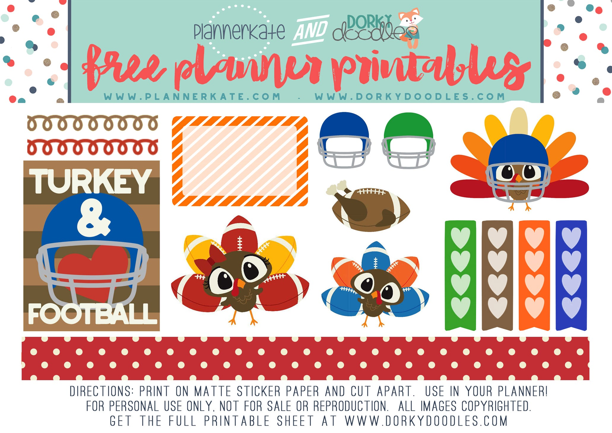 football turkey planner stickers