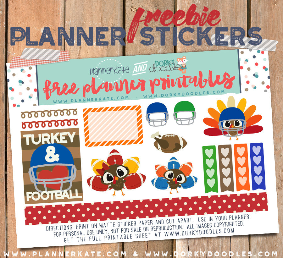turkey football planner stickers