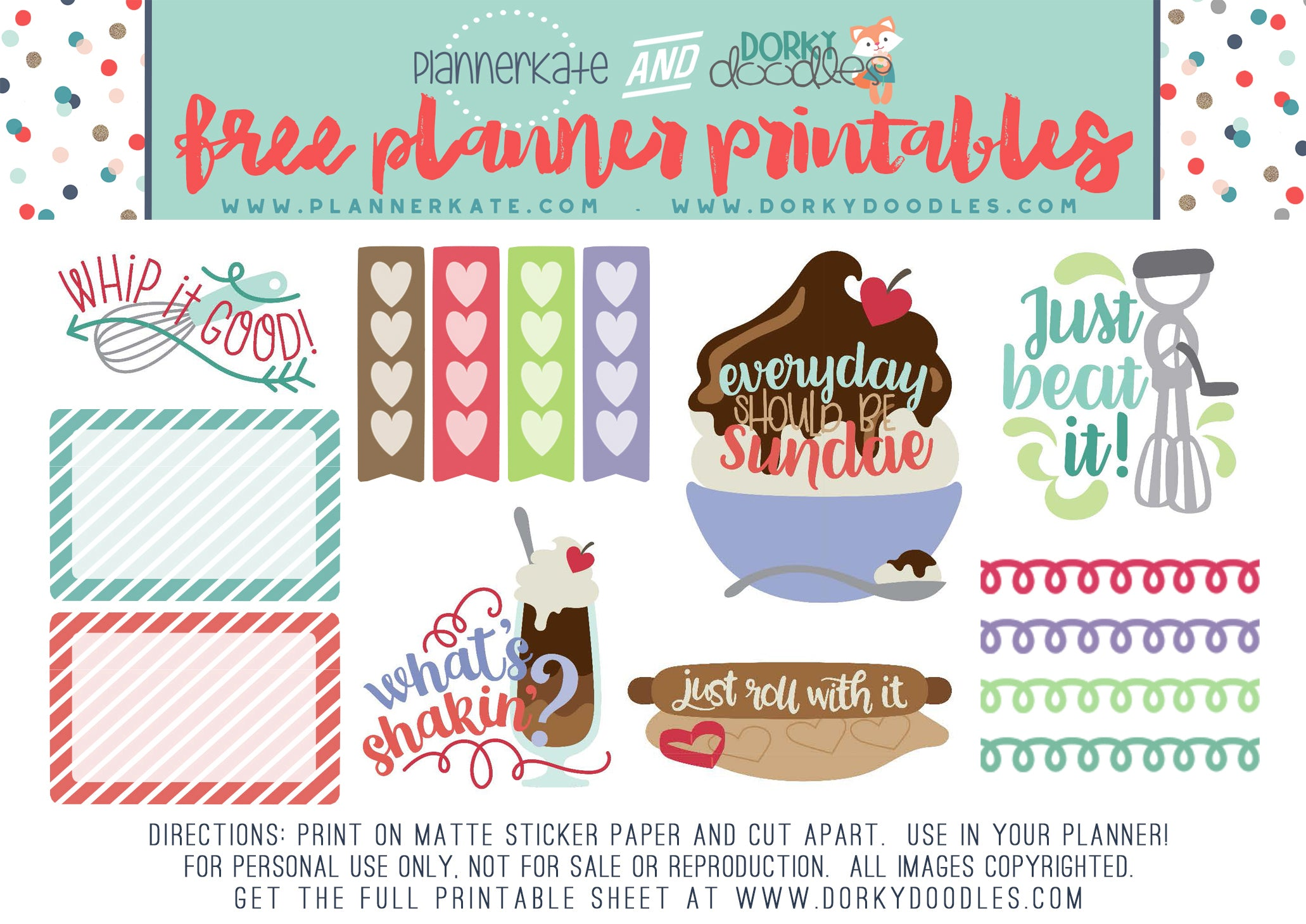 kitchen planner stickers freebie
