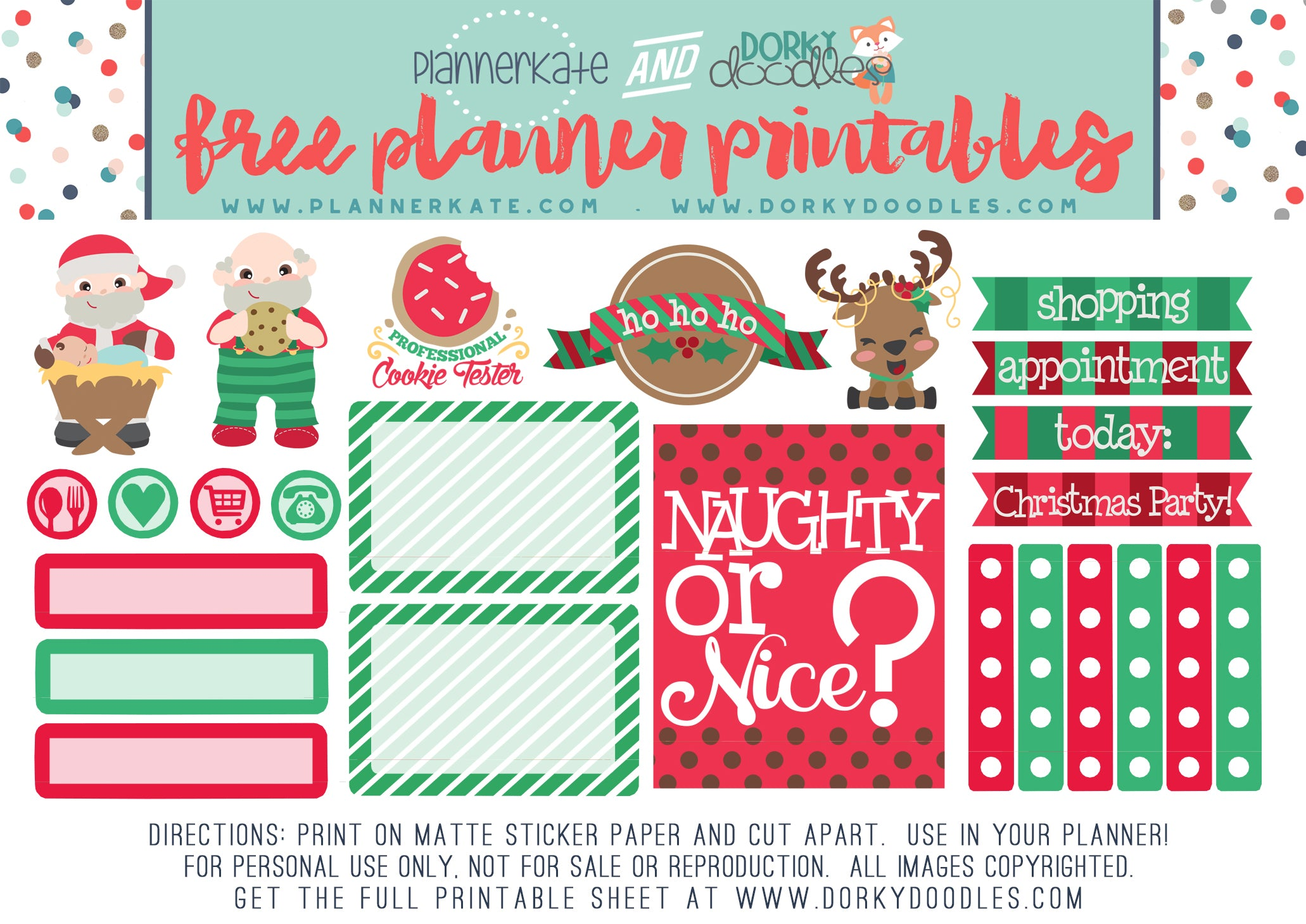 Christmas planner sticker freebie