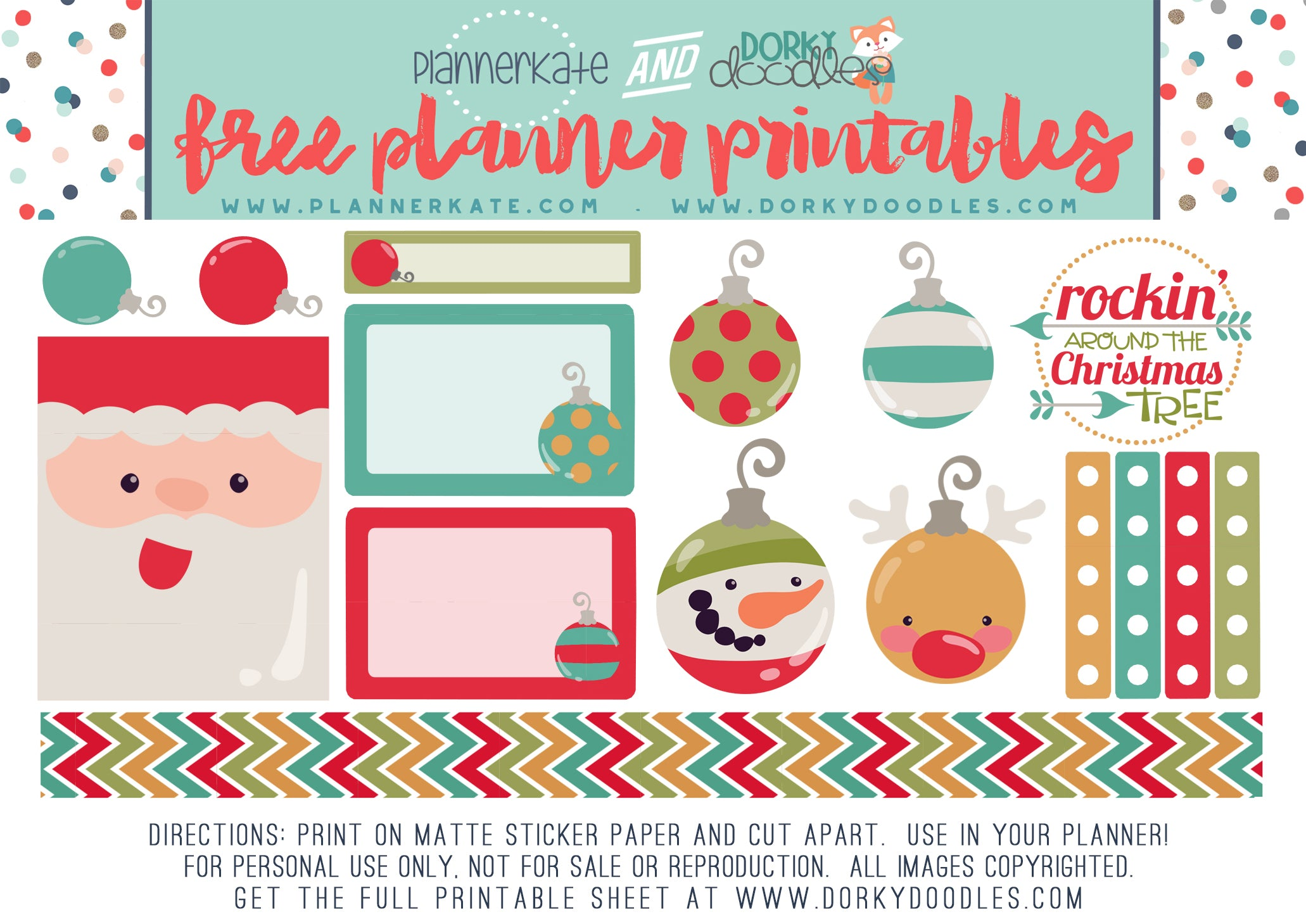 free Christmas planner stickers