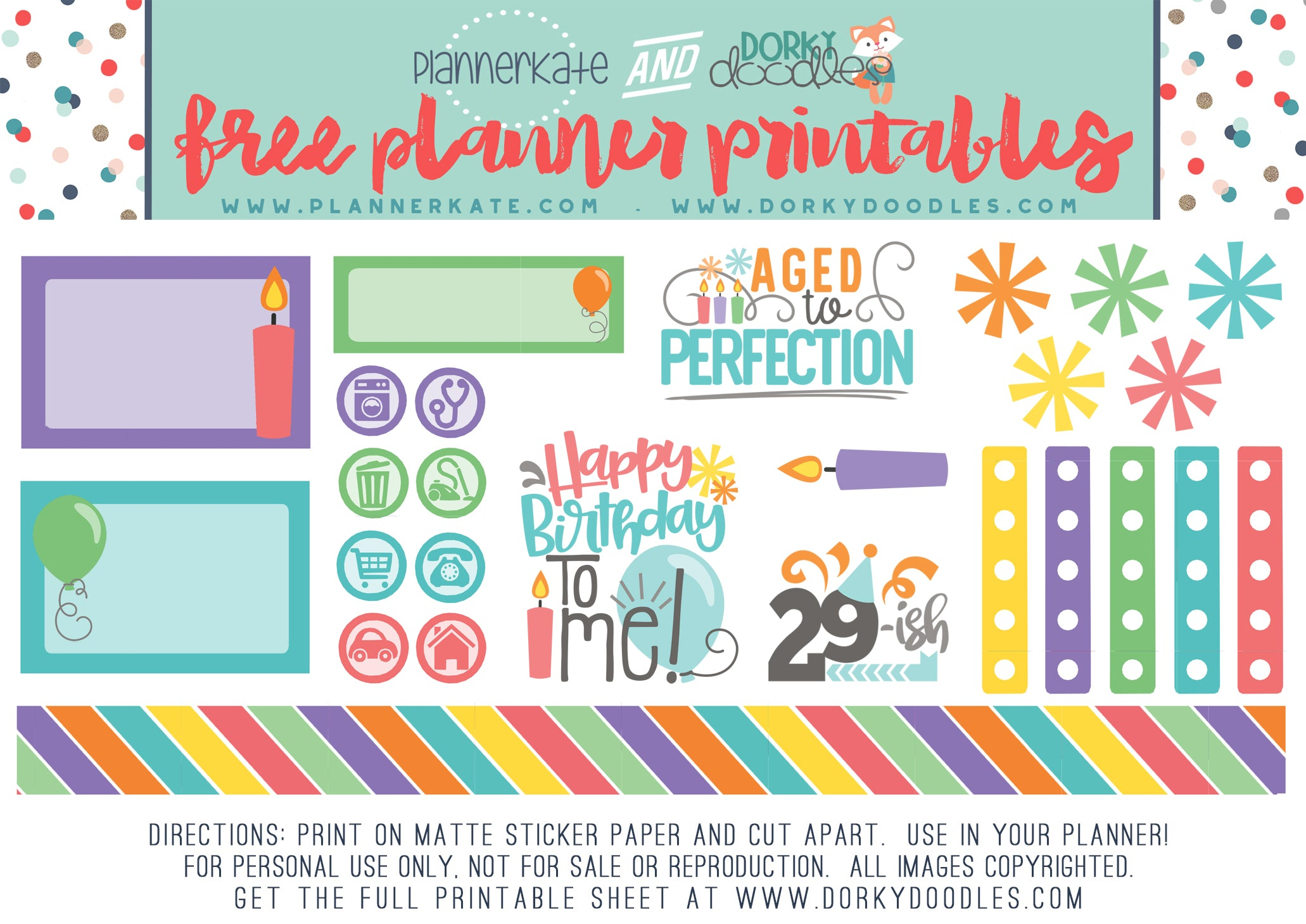 birthday planner stickers freebie
