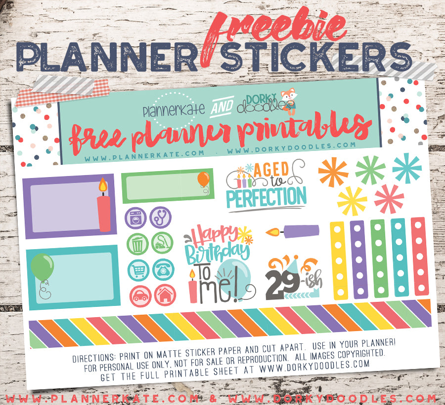 Free Birthday Planner Sticker Printable