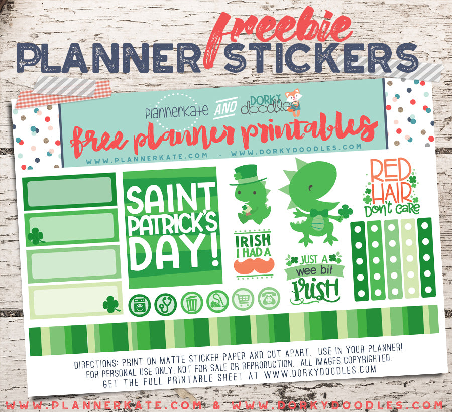 st patricks day planner stickers free