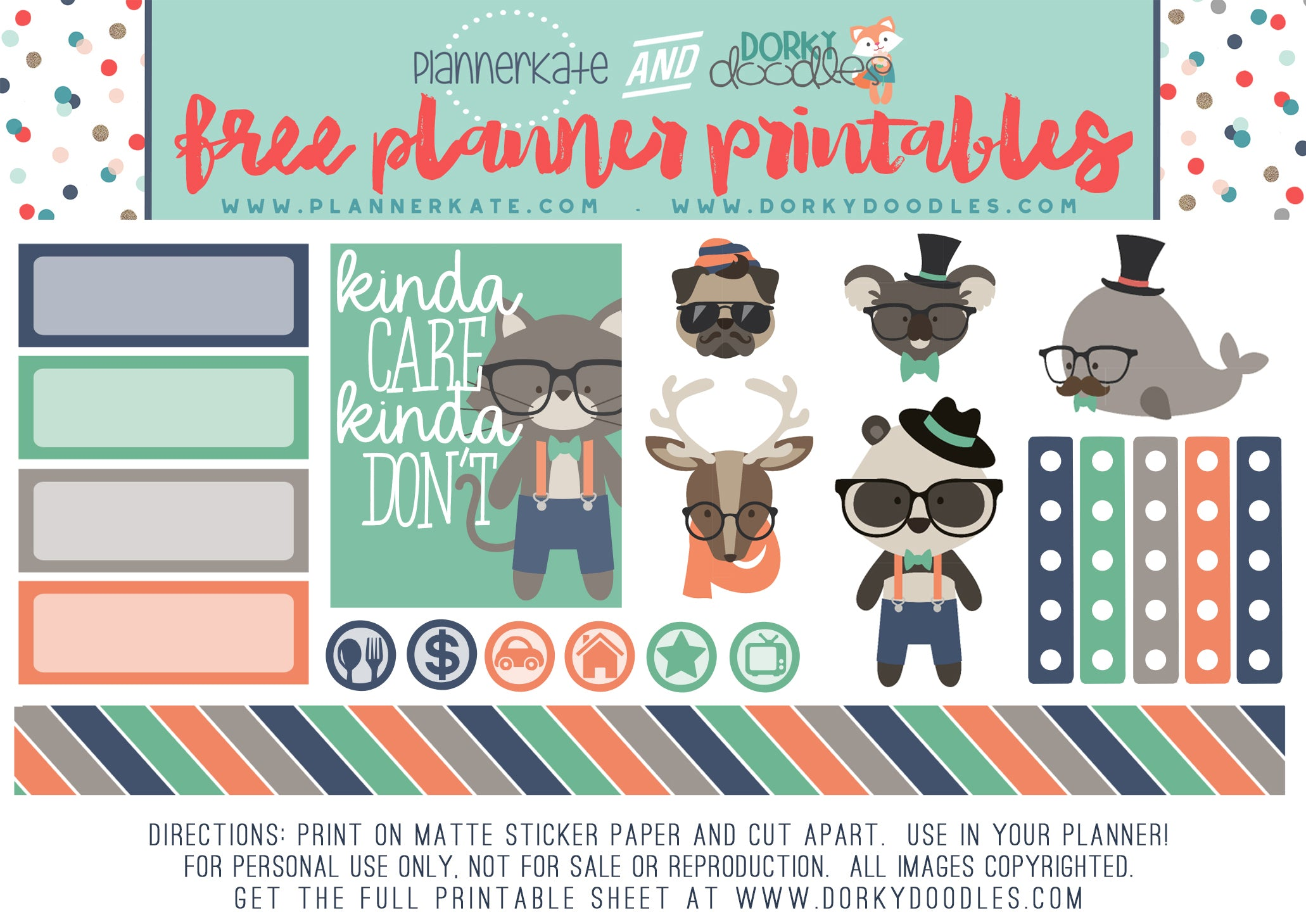 hipster animal stickers
