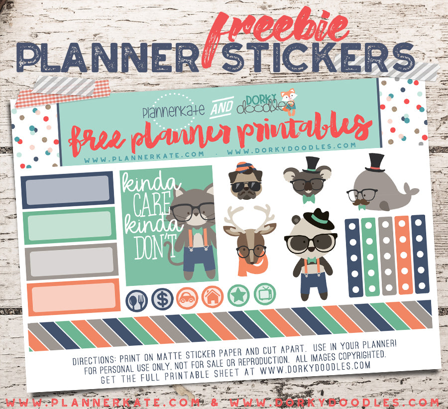 hipster planner stickers free