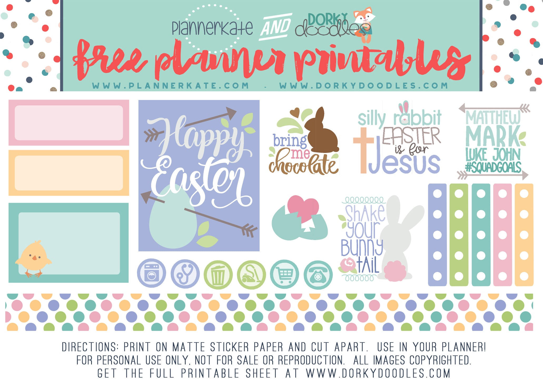 cute easter planner sticker freebie dorky doodles