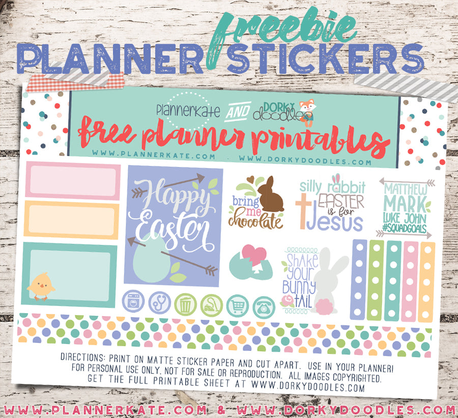 image relating to Freebie Planner known as Lovable Easter Planner Sticker Freebie Dorky Doodles
