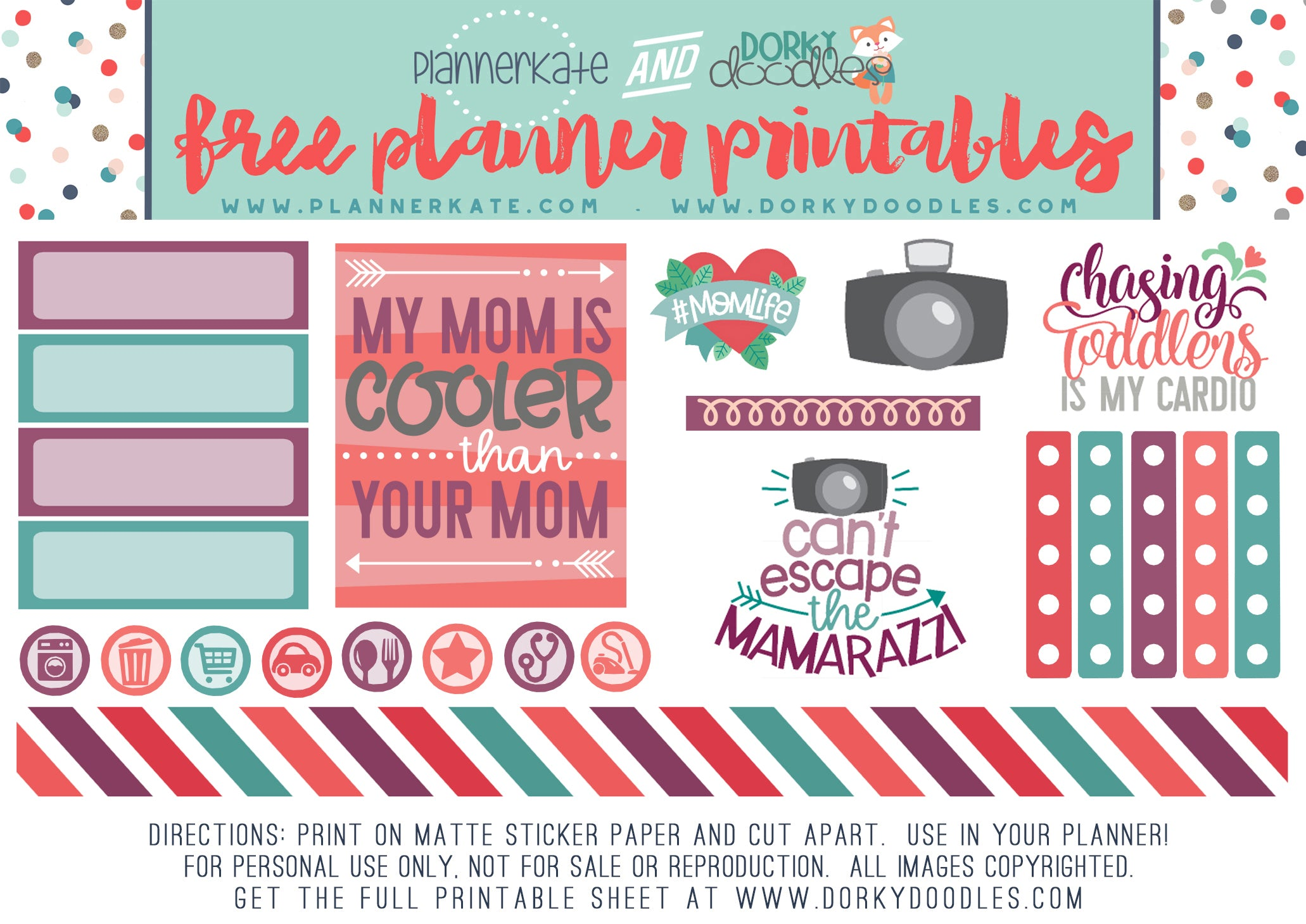 free mother 39 s day planner stickers dorky doodles. Black Bedroom Furniture Sets. Home Design Ideas