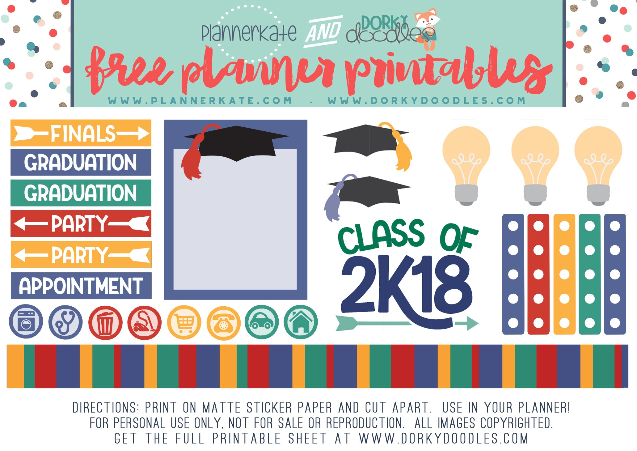 free graduation planner stickers