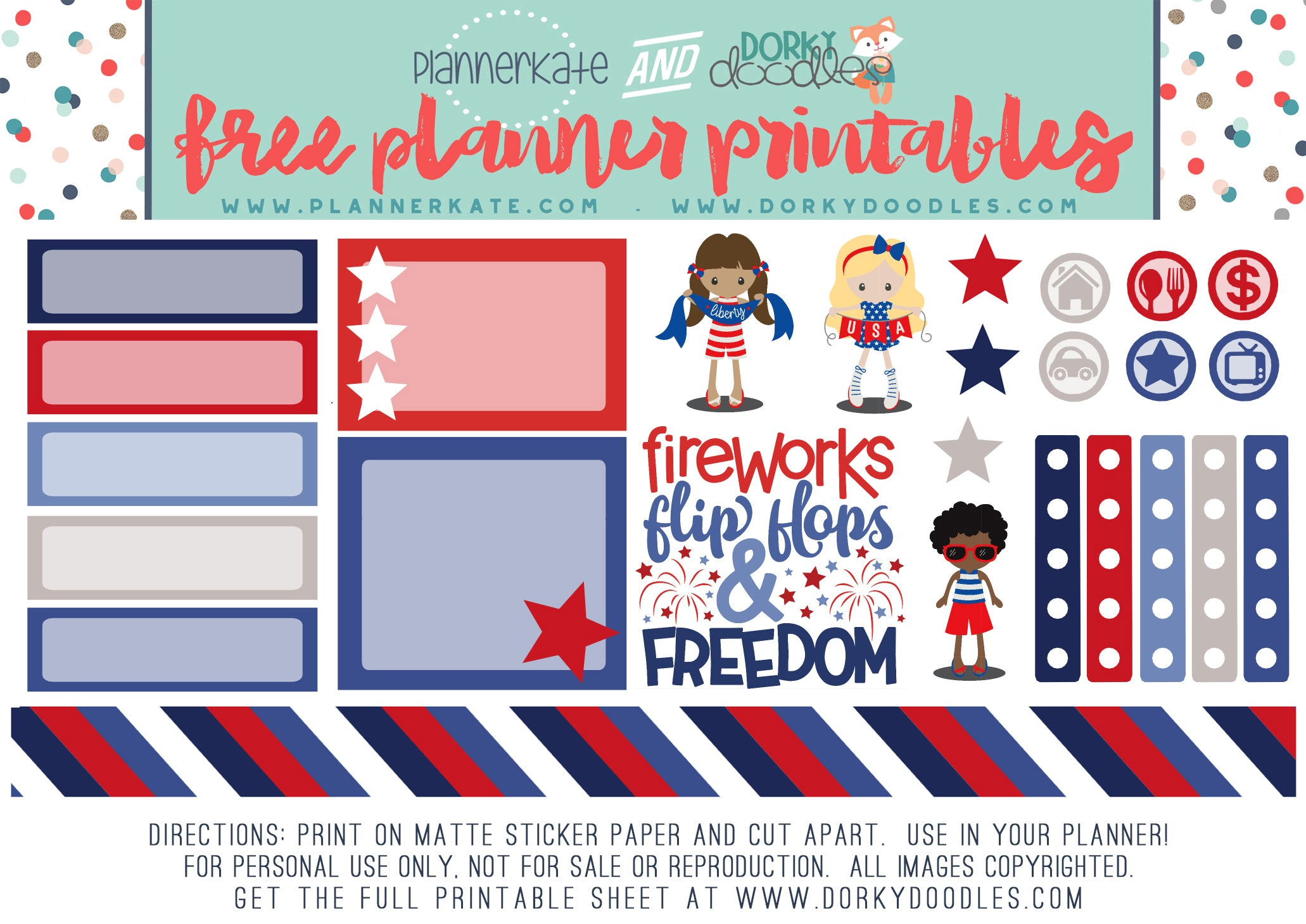 free red white and blue planner stickers