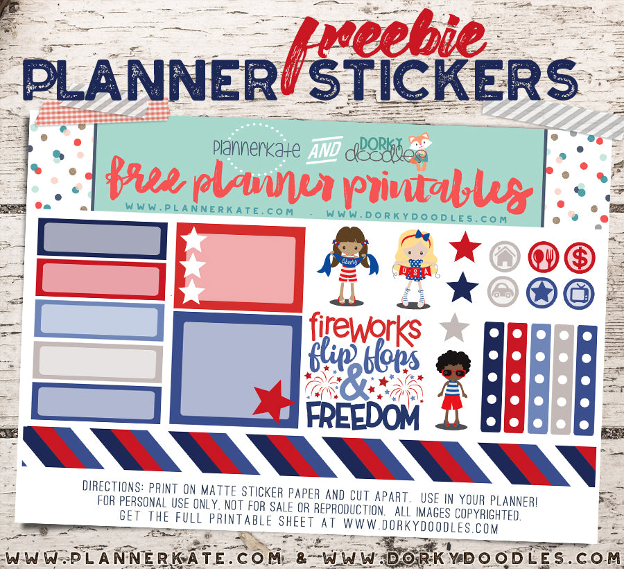 free 4th of july planner stickers