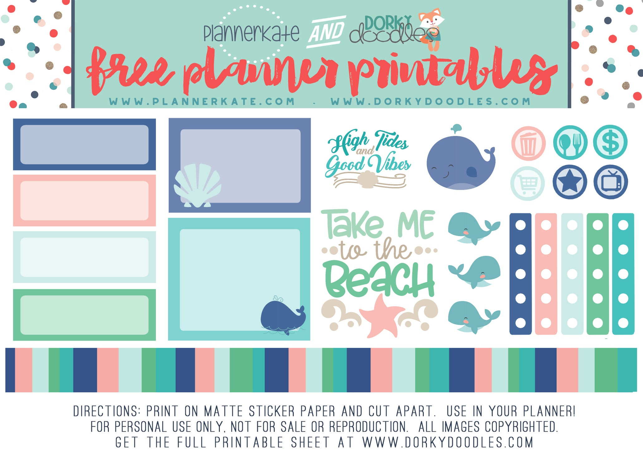 free beach vibe planner stickers