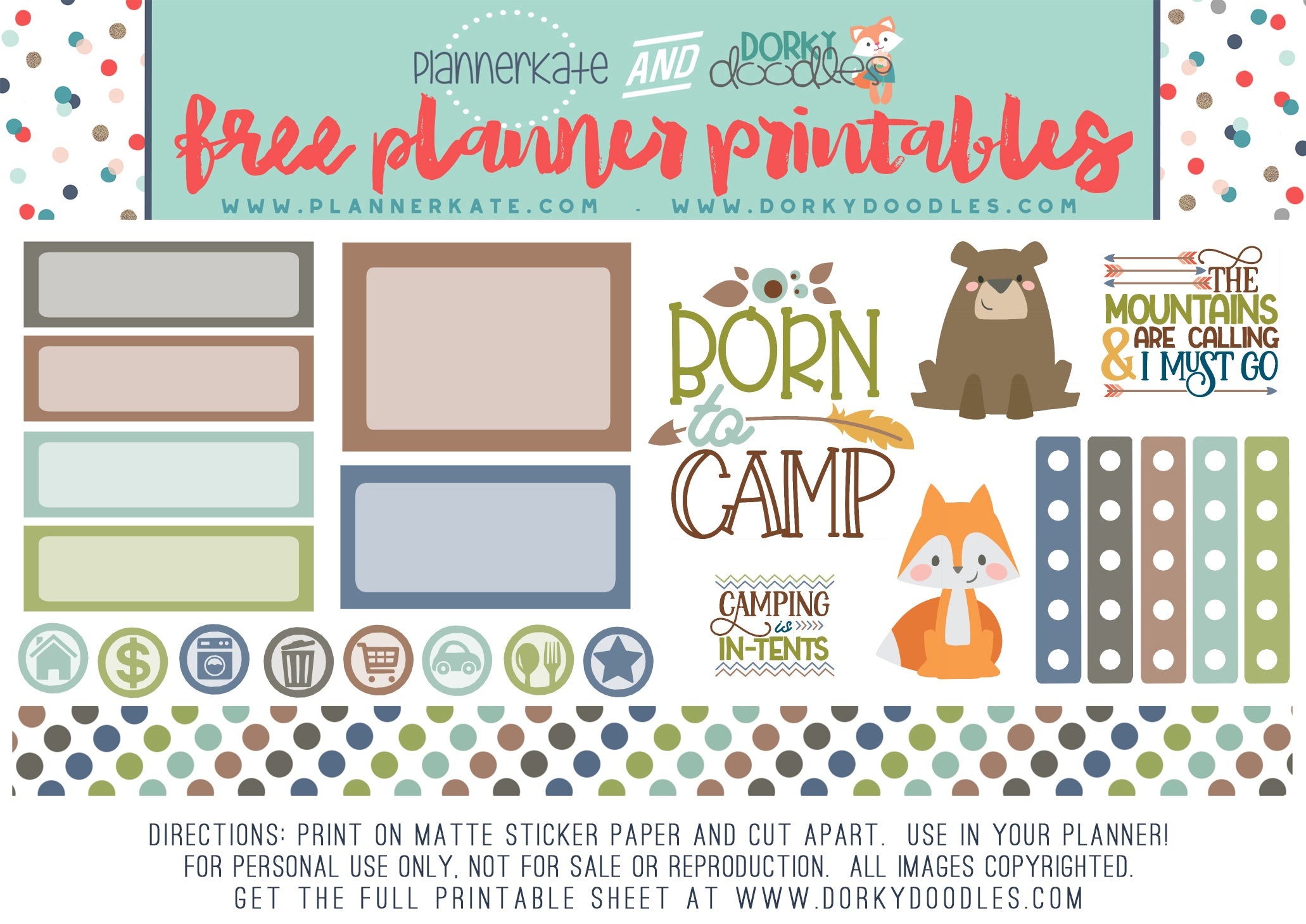 camping planner stickers free