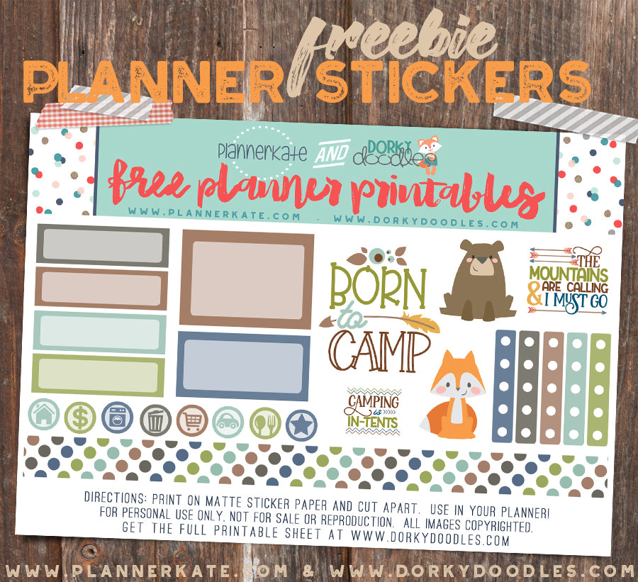 free camping planner stickers