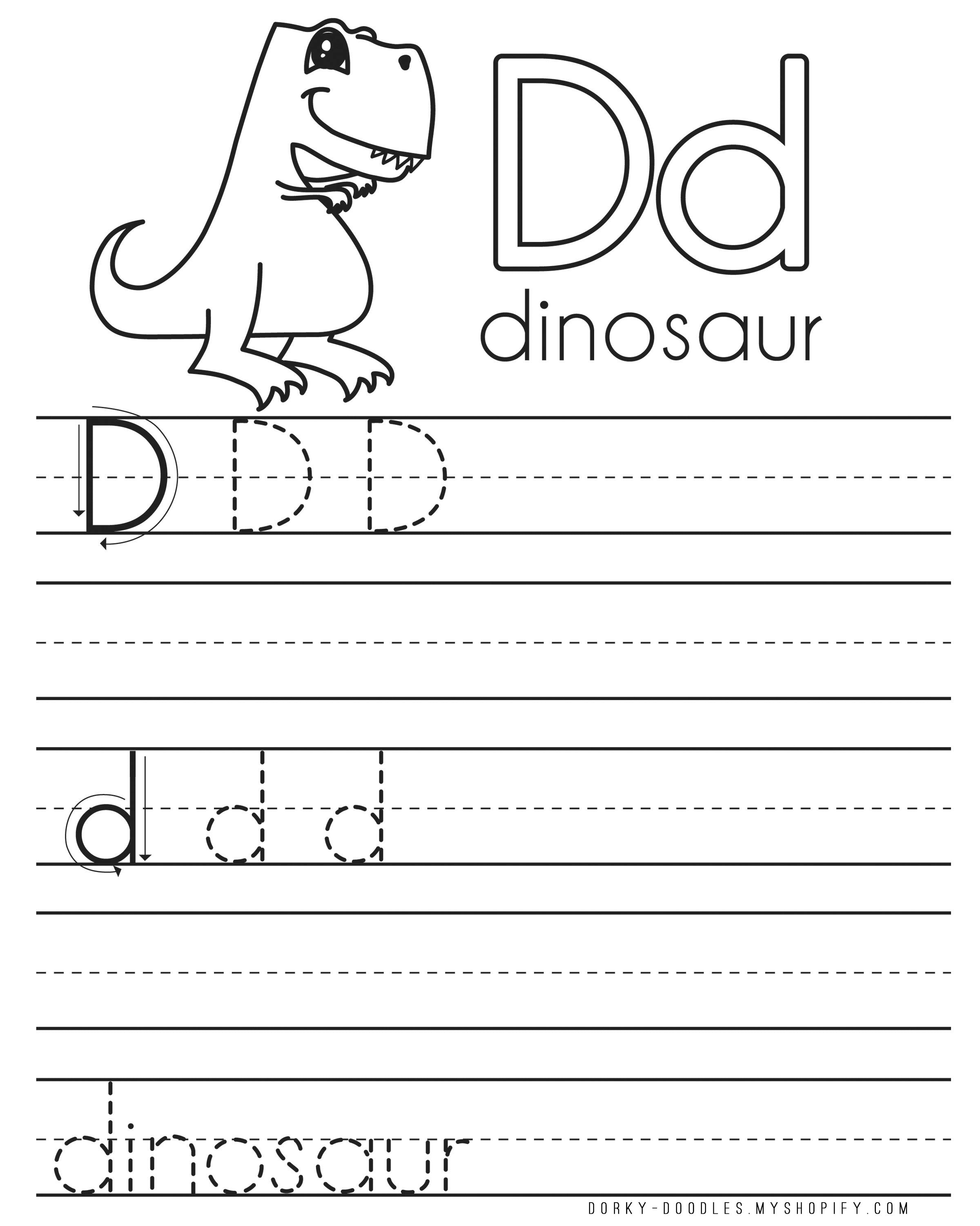 letter practice d worksheets dorky doodles. Black Bedroom Furniture Sets. Home Design Ideas