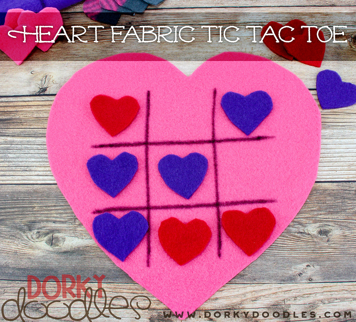 fabric tic tac toe for Valentine's Day
