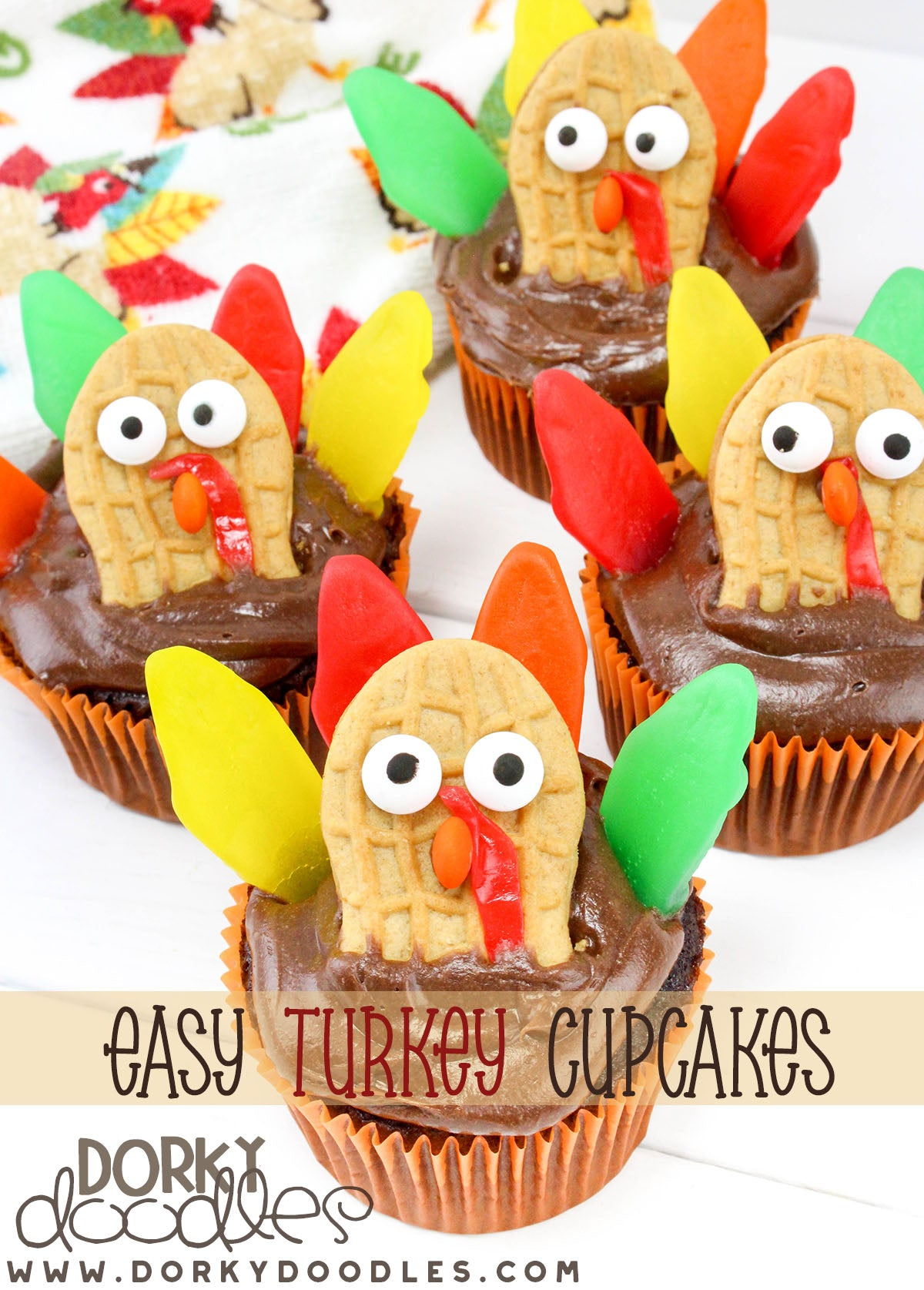 easy turkey cupcake decorating
