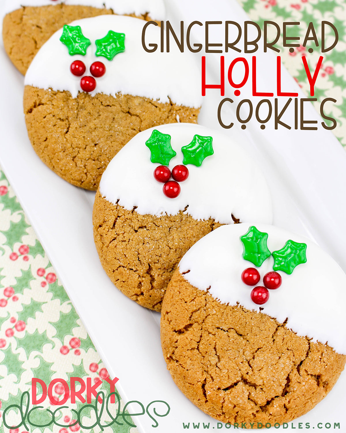 gingerbread holly Christmas cookies recipe