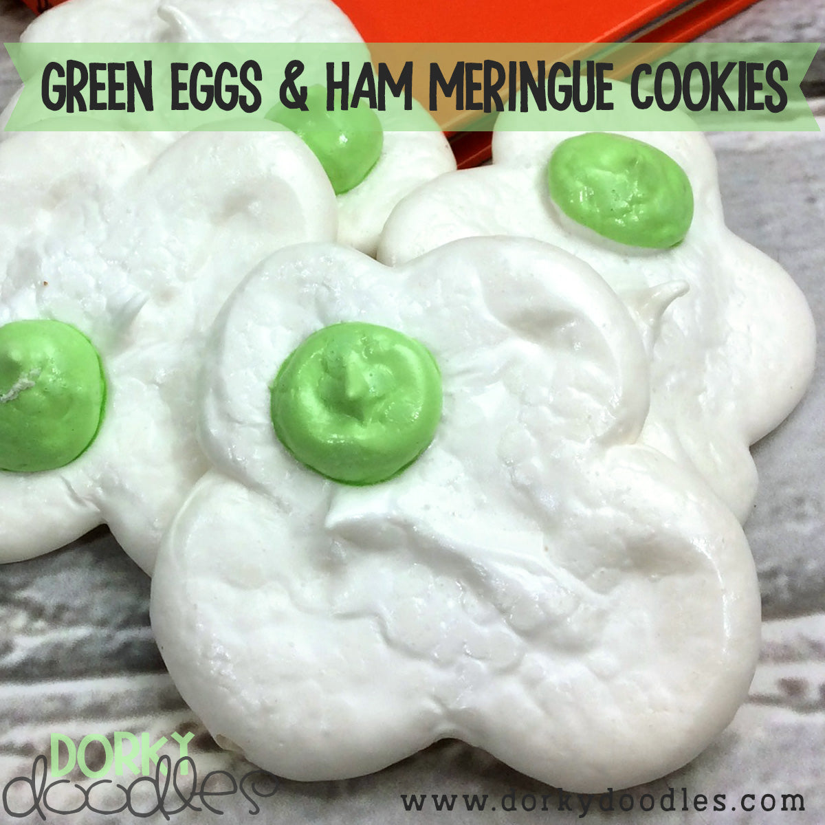 Dr Seuss Green Eggs and Ham Meringue Cookies