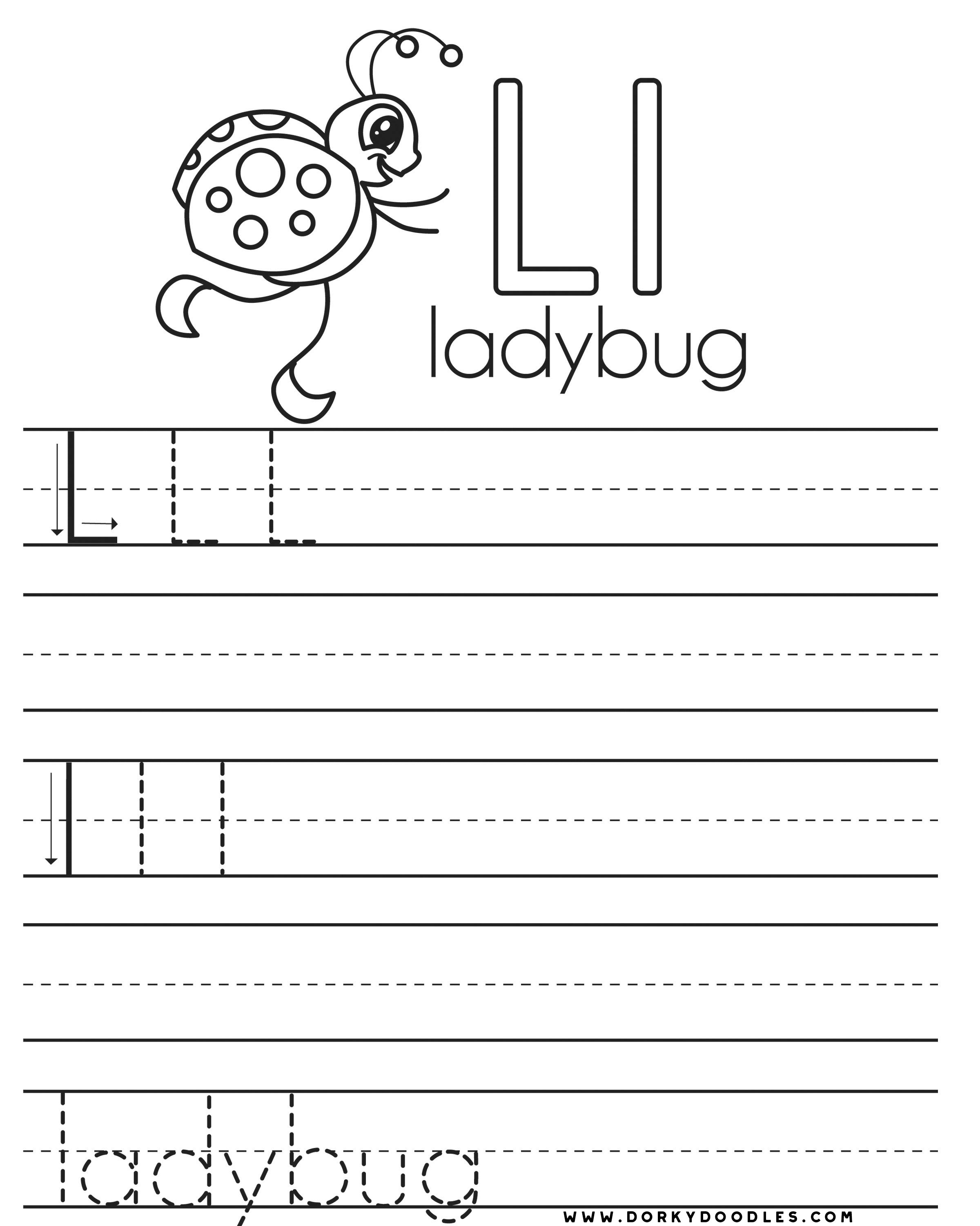 letter practice l worksheets dorky doodles. Black Bedroom Furniture Sets. Home Design Ideas