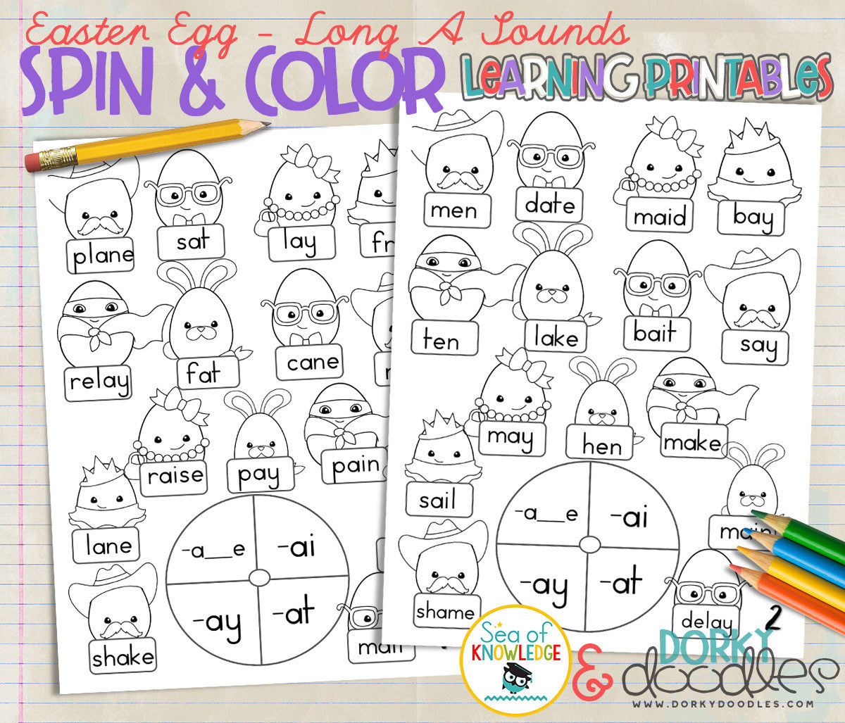 Printable colored easter eggs -  The Long A Letter Sound And The Different Ways It Shows Up In Words With These Fun Spin And Color Printable Worksheets Featuring Cute Easter Eggs