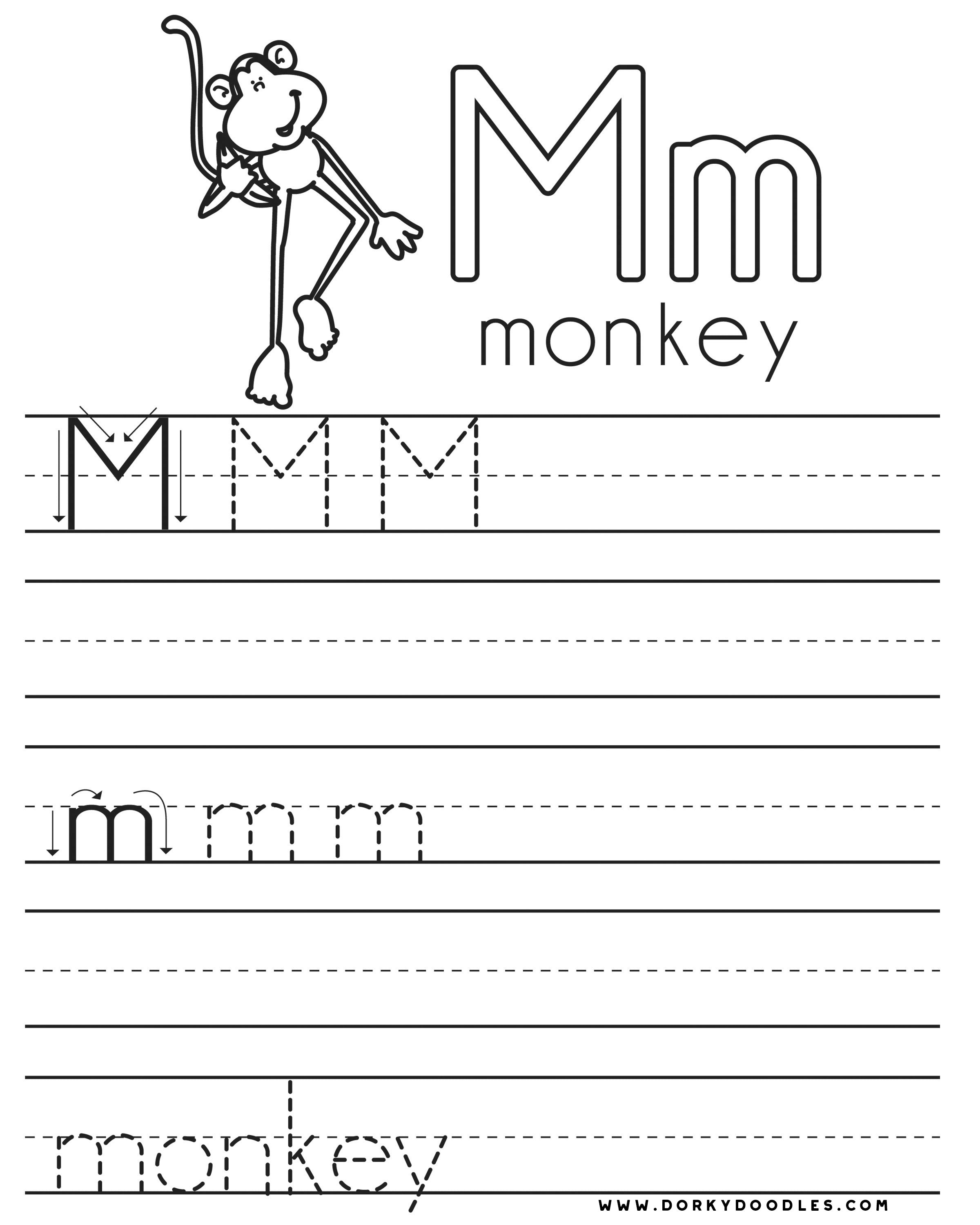 Worksheets Letter Practice letter practice m worksheets dorky doodles and right click this image to print our free coloring page
