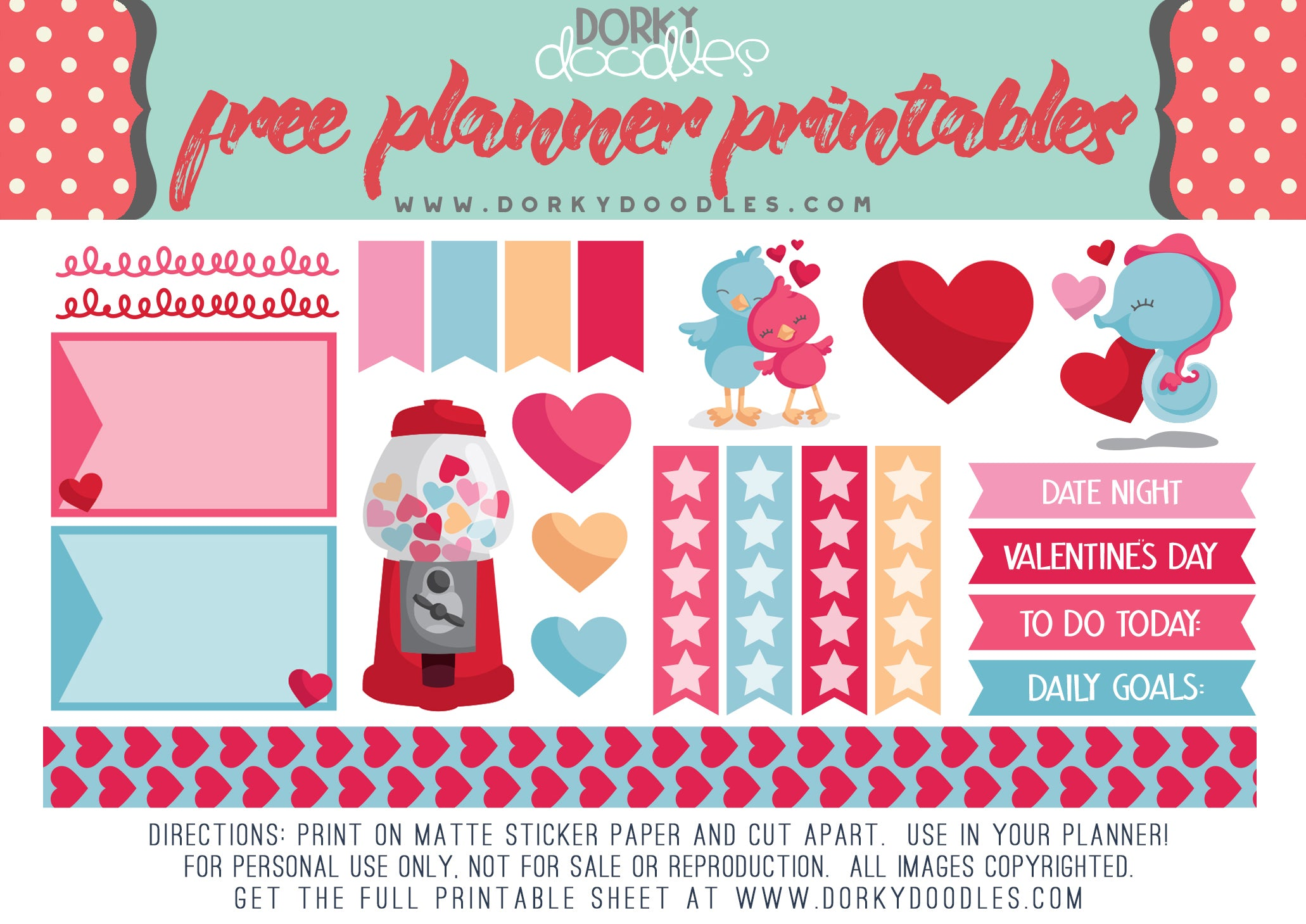 photo about Valentine Stickers Printable referred to as No cost Valentine Planner Stickers Dorky Doodles