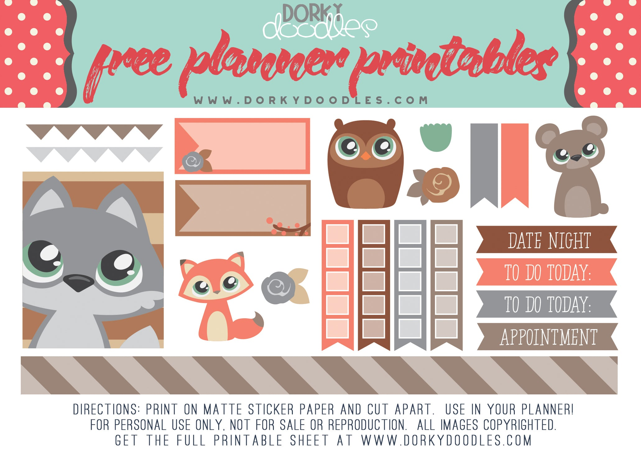 cute forest animal planner stickers free