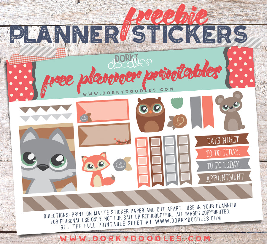 cute planner stickers for free