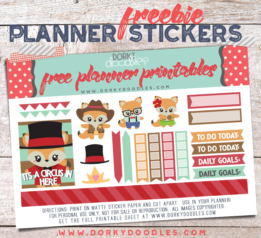 free fox planner stickers printable