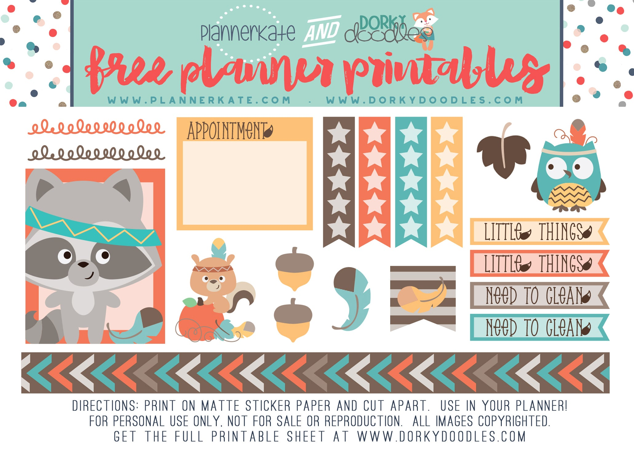 fall animals planner printable