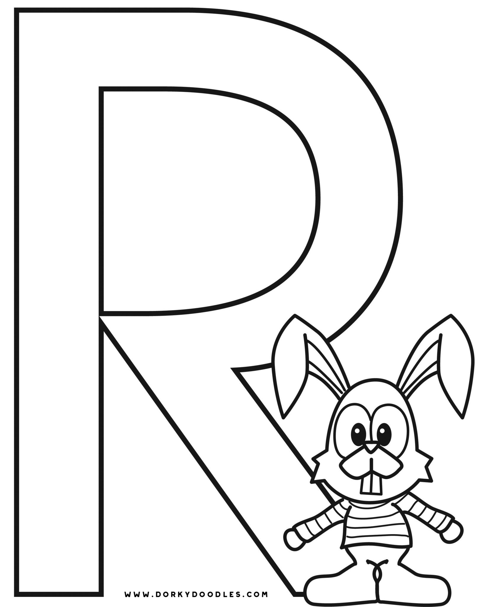 Letter R Coloring Page and Writing Practice Worksheet
