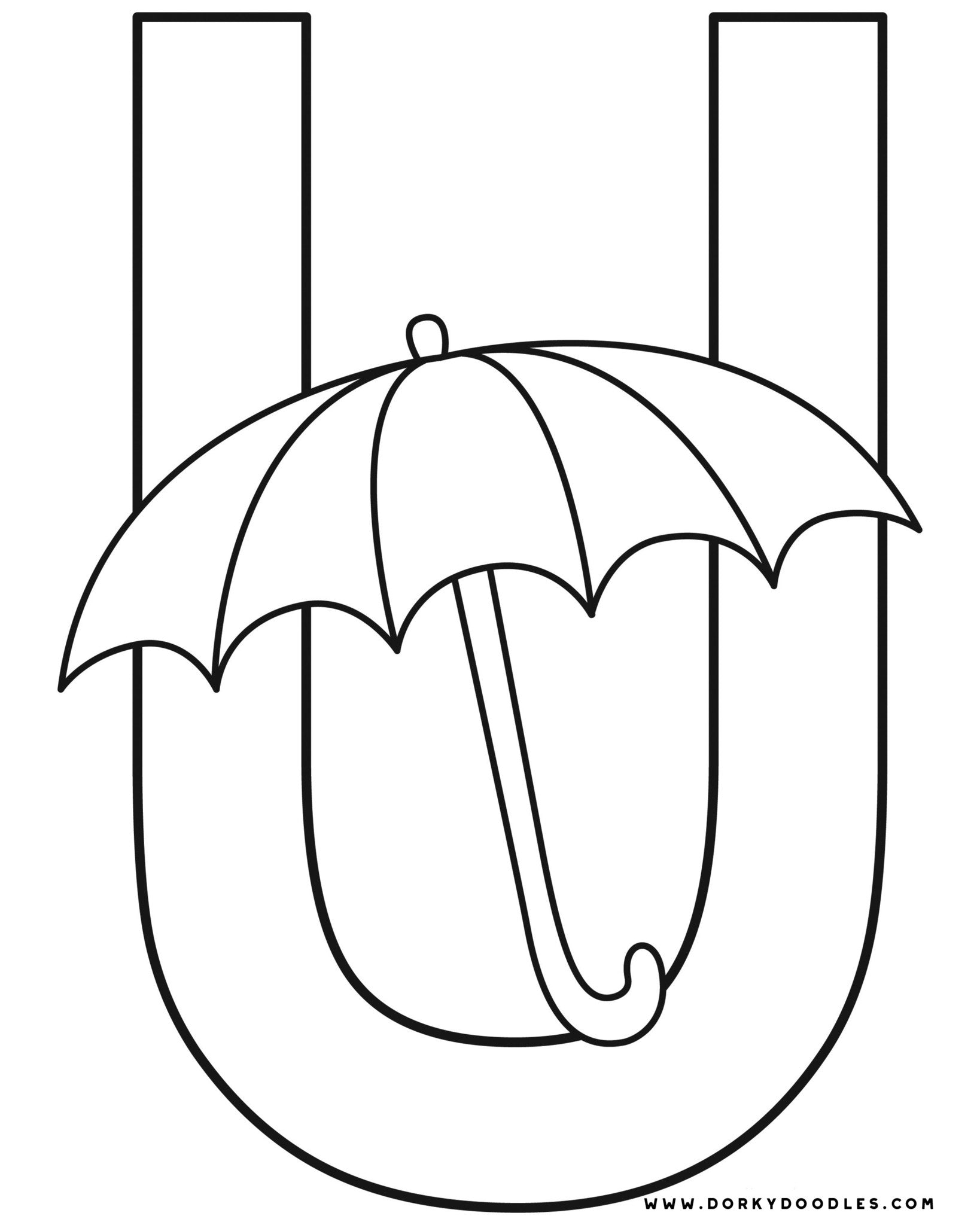 Letter U Writing Practice and Coloring Page