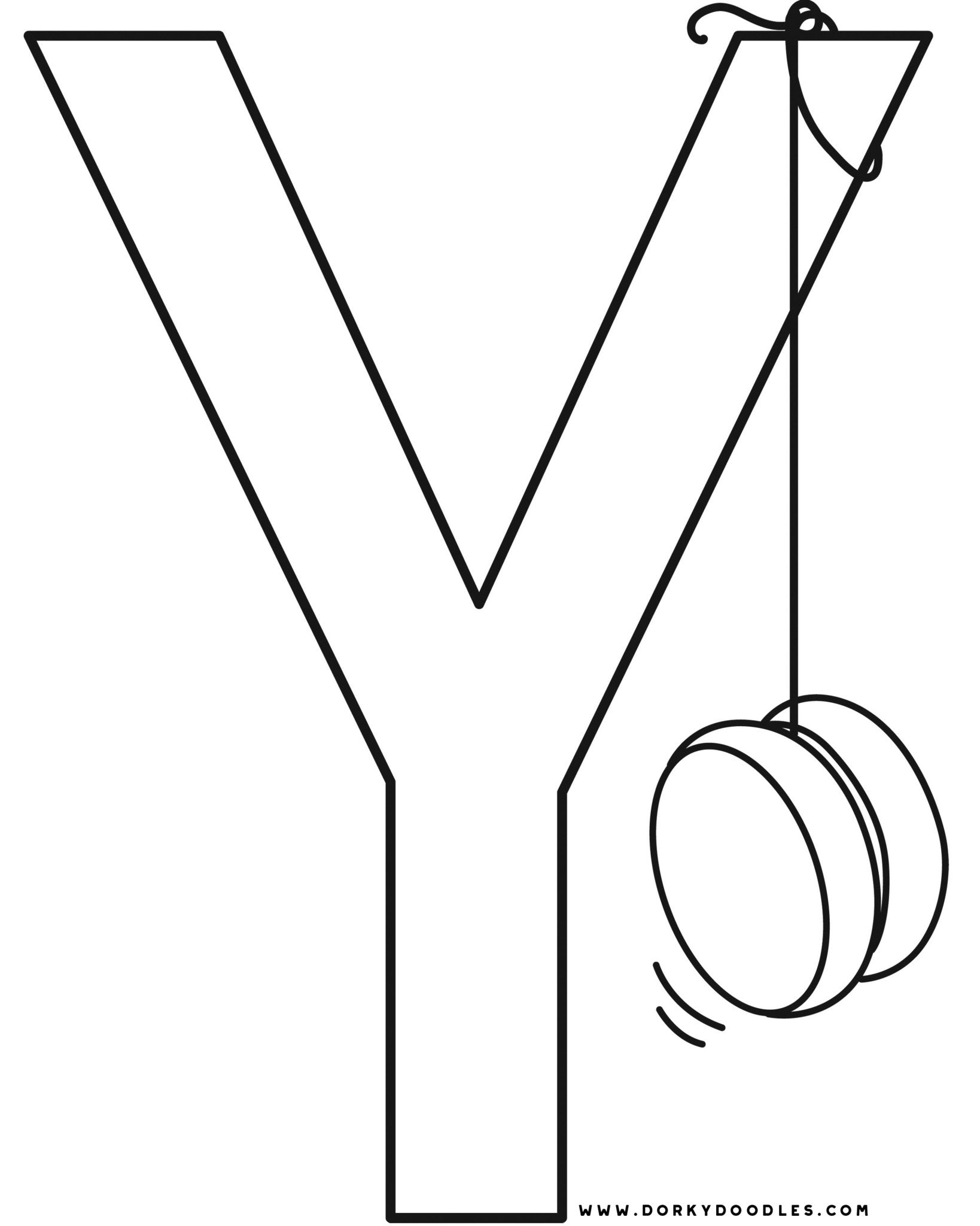 Letter Y Writing Practice and Coloring Page Printables