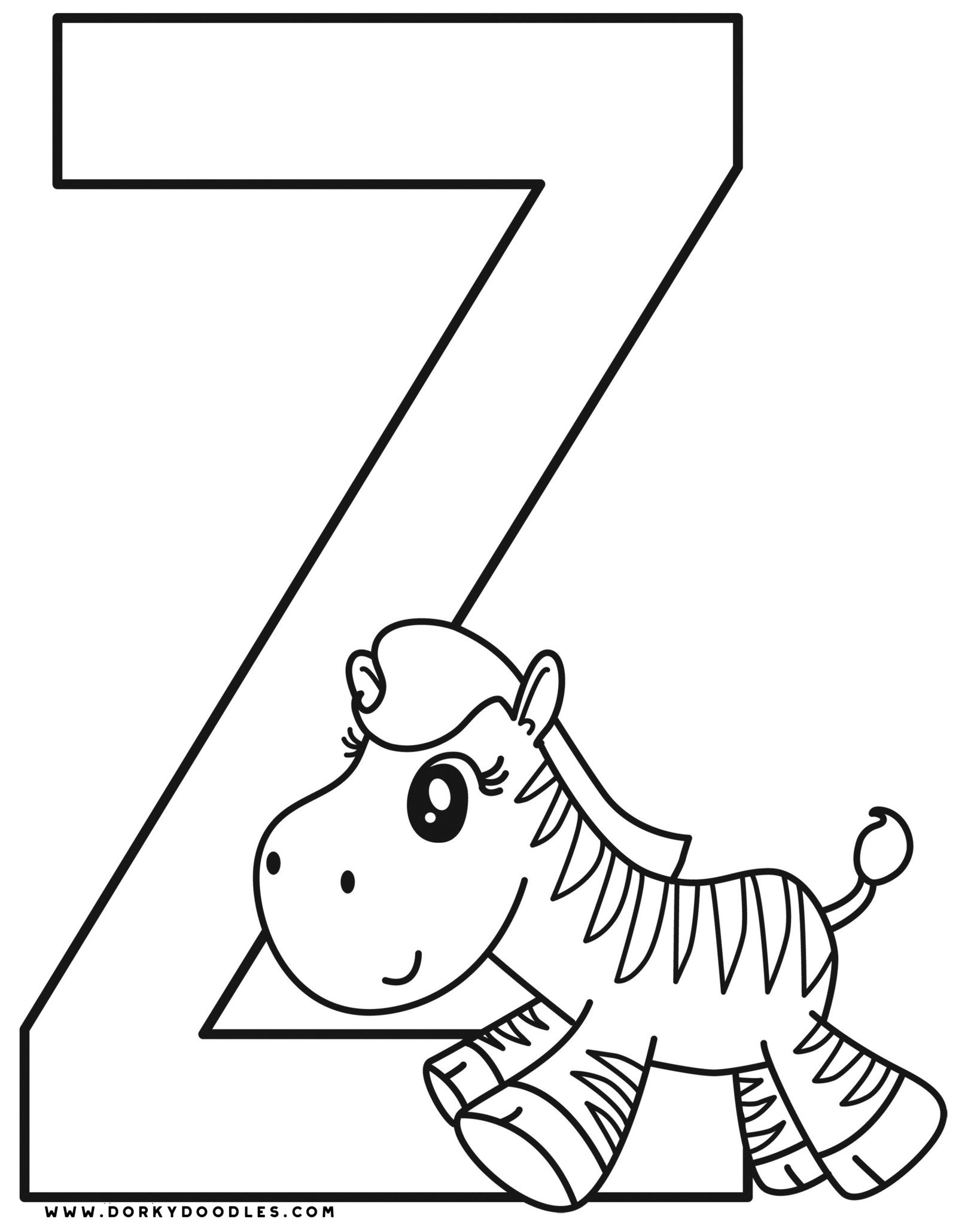 letter z coloring page and writing practice worksheets dorky doodles. Black Bedroom Furniture Sets. Home Design Ideas