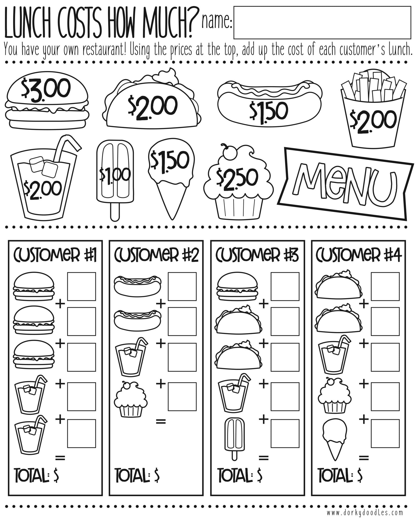 money math practice how much does lunch cost dorky doodles. Black Bedroom Furniture Sets. Home Design Ideas
