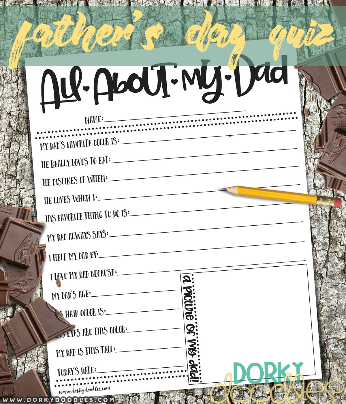 all about my dad printable quiz