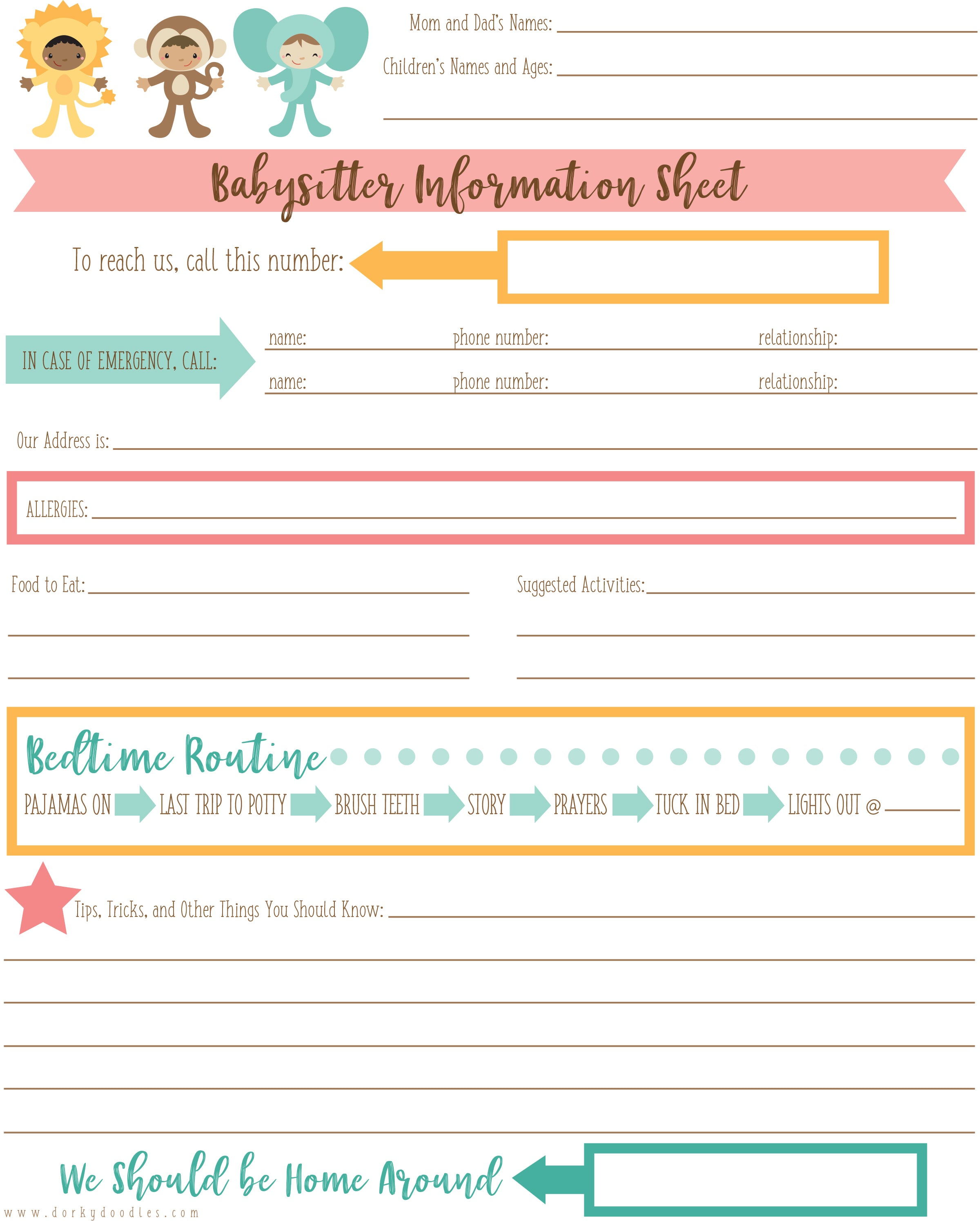 babysitter information printable