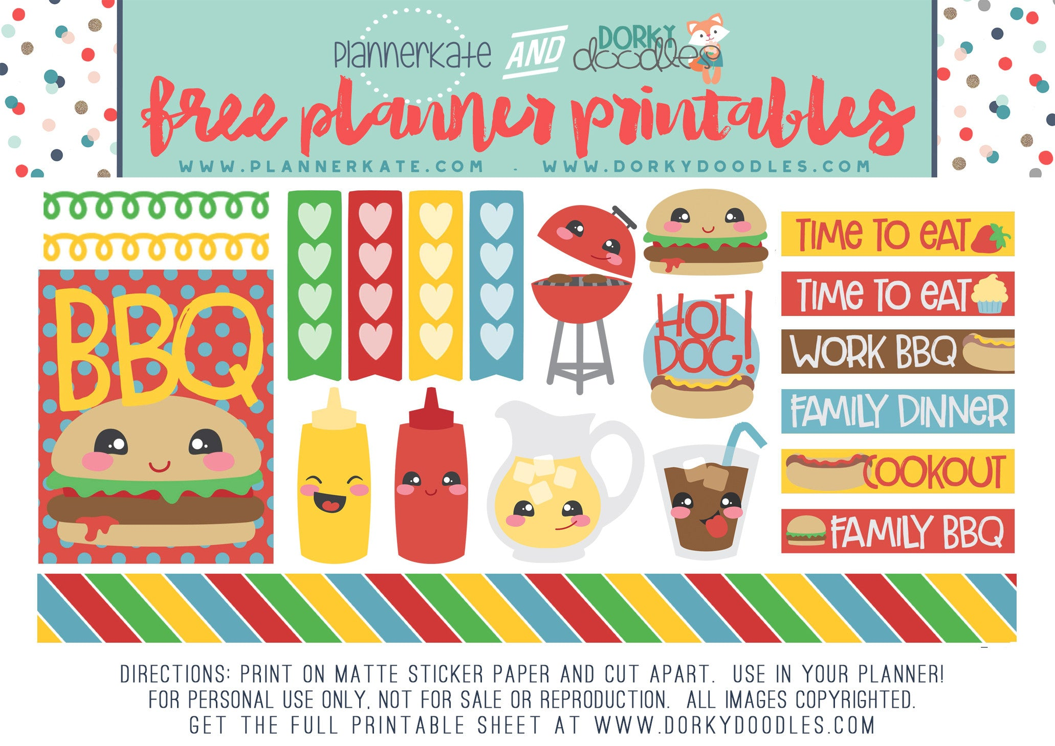 free bbq planner stickers