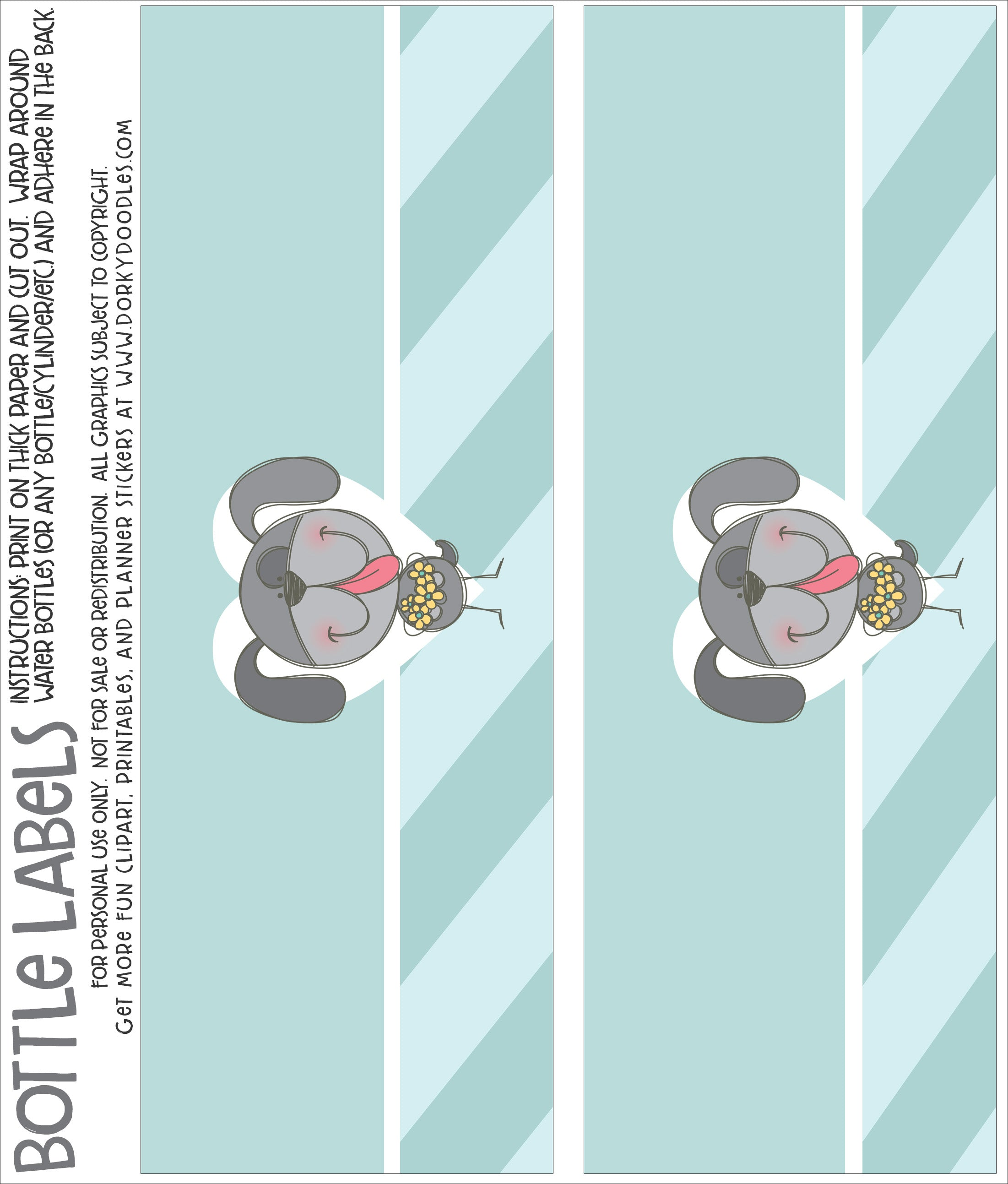 cute puppy bottle label printable